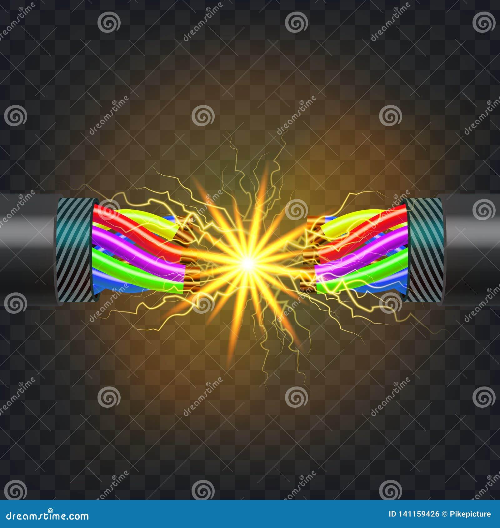 Vector eléctrico del cable de la rotura Circuito eléctrico Poder industrial de la red Relámpago que brilla intensamente realista