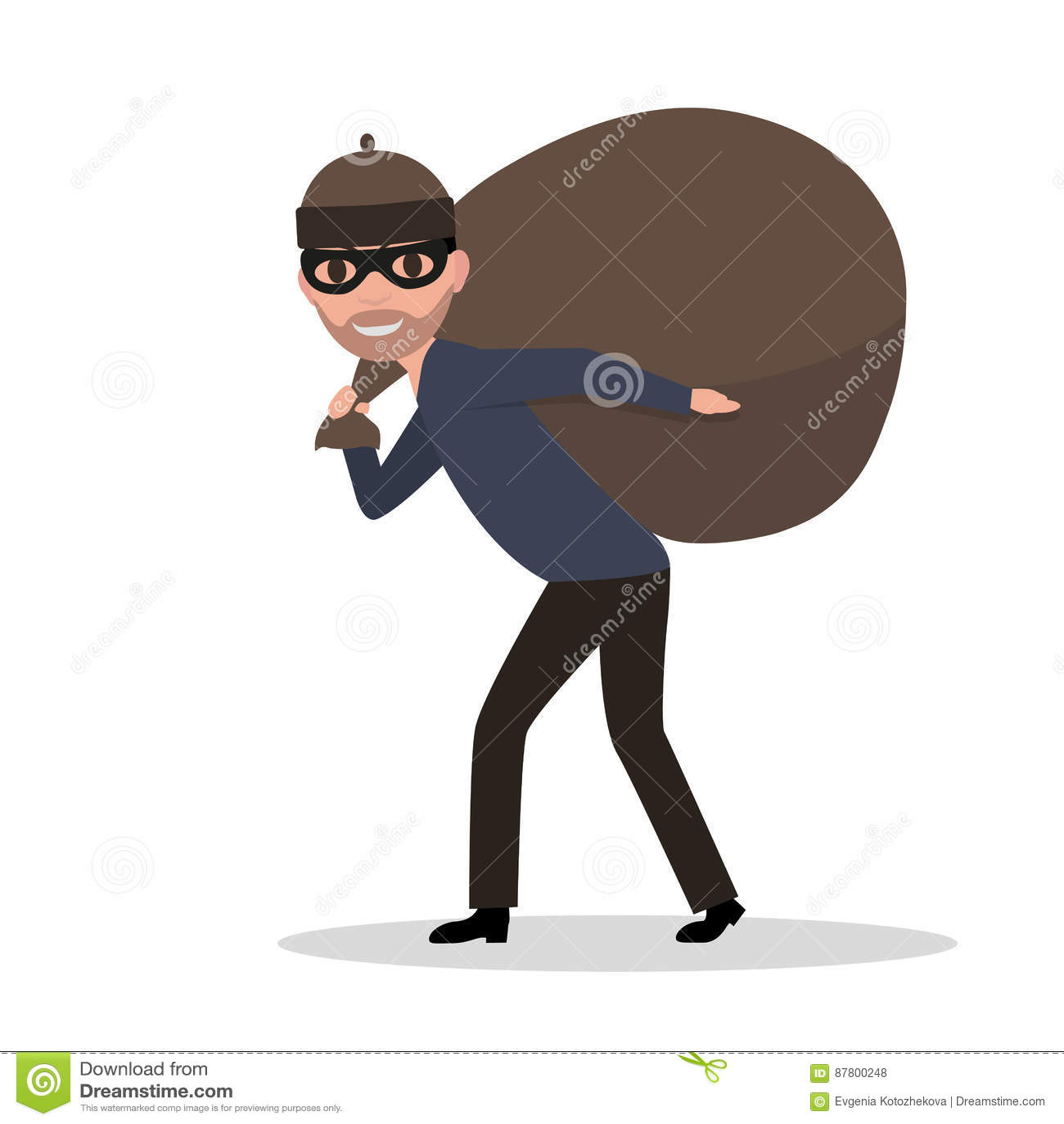 Vector el bolso que lleva del ladrón de sexo masculino de la historieta con un botín