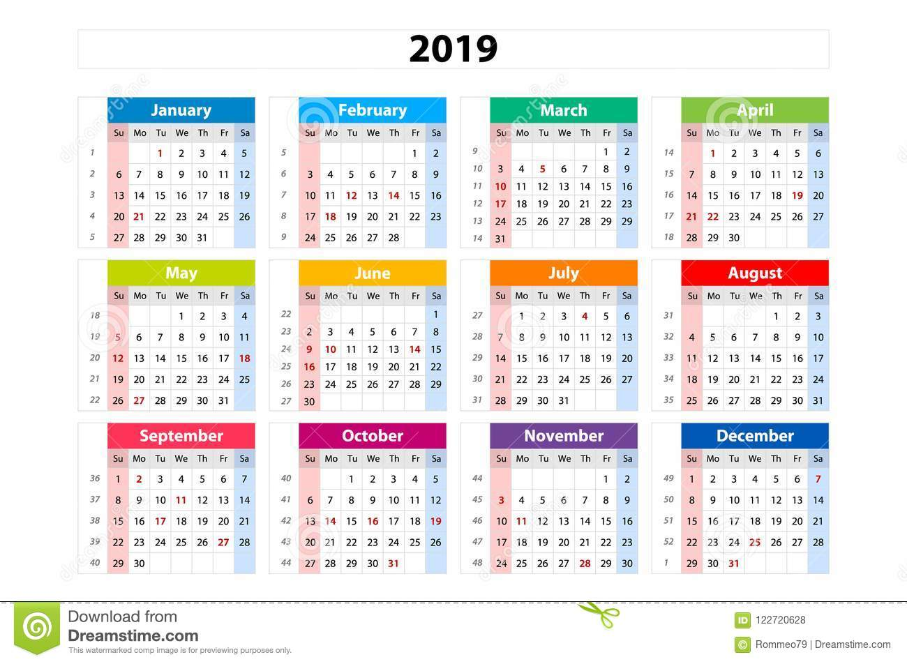 Calendario 2019 Por Semanas.Vector El Calendario 2019 Semana Sale De Domingo Plantilla