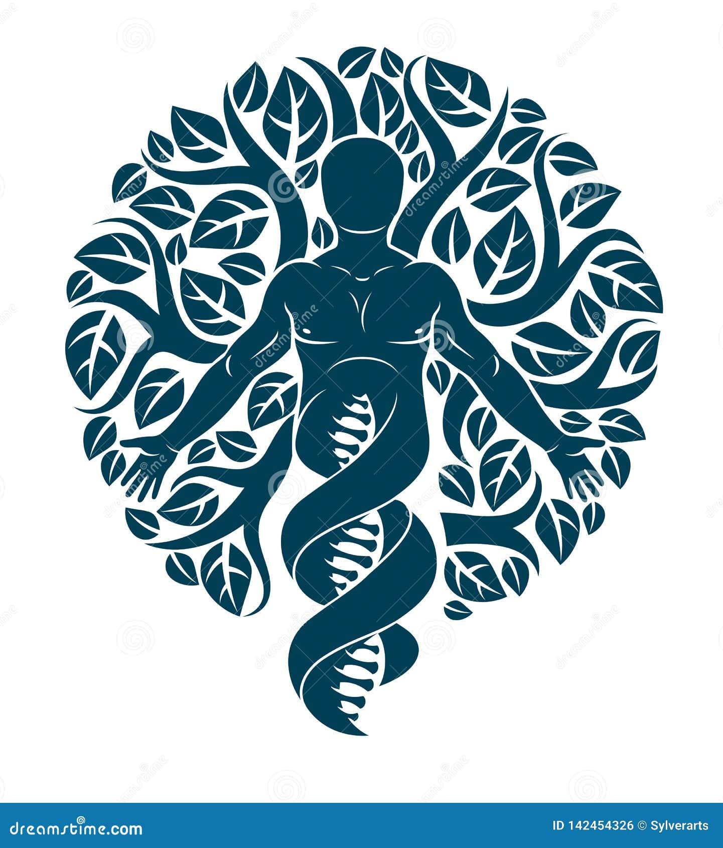 Vector el carácter individual, místico que deriva de filamentos de la DNA y hecho con las hojas del árbol del eco Humano, ciencia