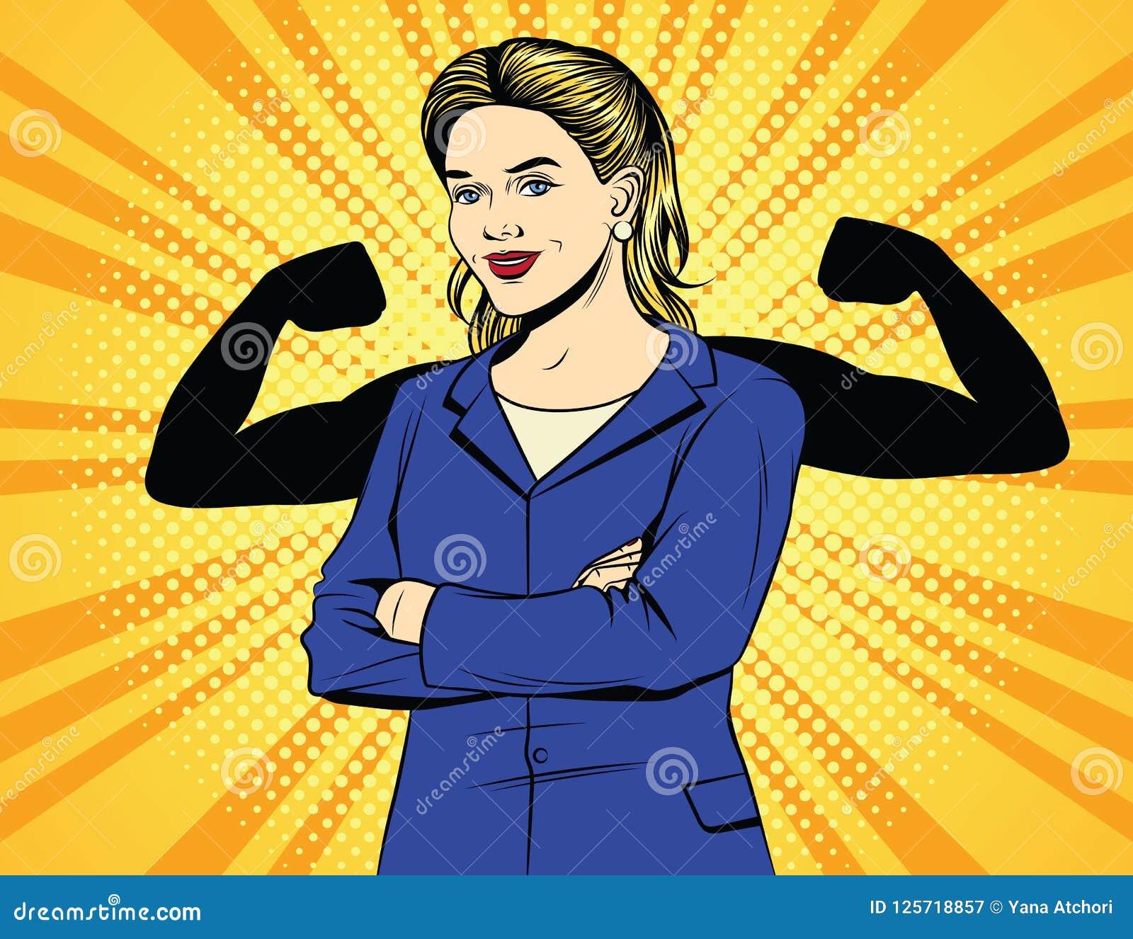 Vector el cartel cómico del vintage del estilo del arte pop del color de la mujer de negocios fuerte