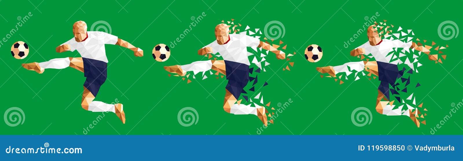 Vector el concep bajo-polivinílico del estilo del futbolista del fútbol del ejemplo