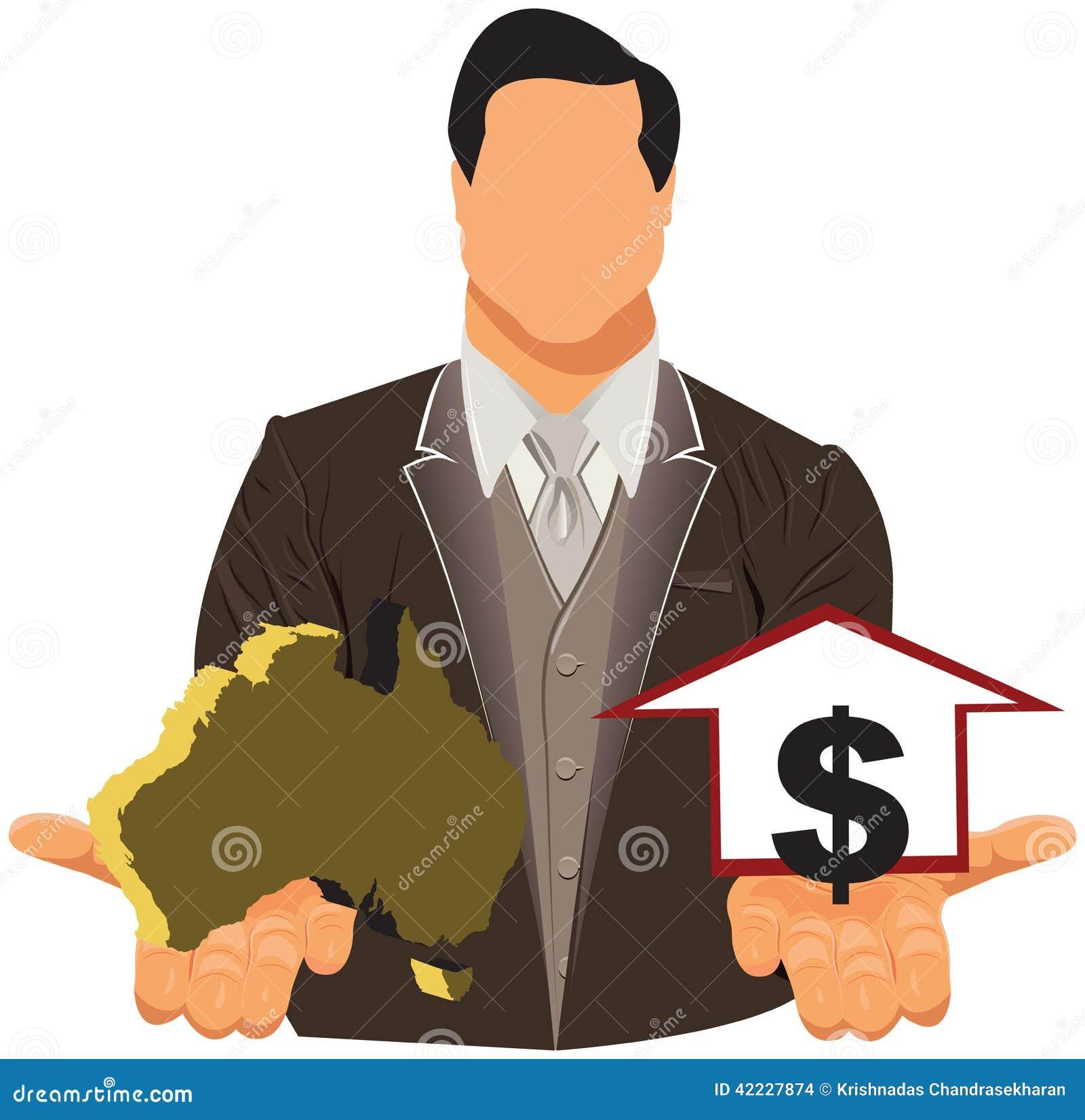 Vector el concepto de diseño del hombre de negocios en traje con el mapa y el dólar australianos