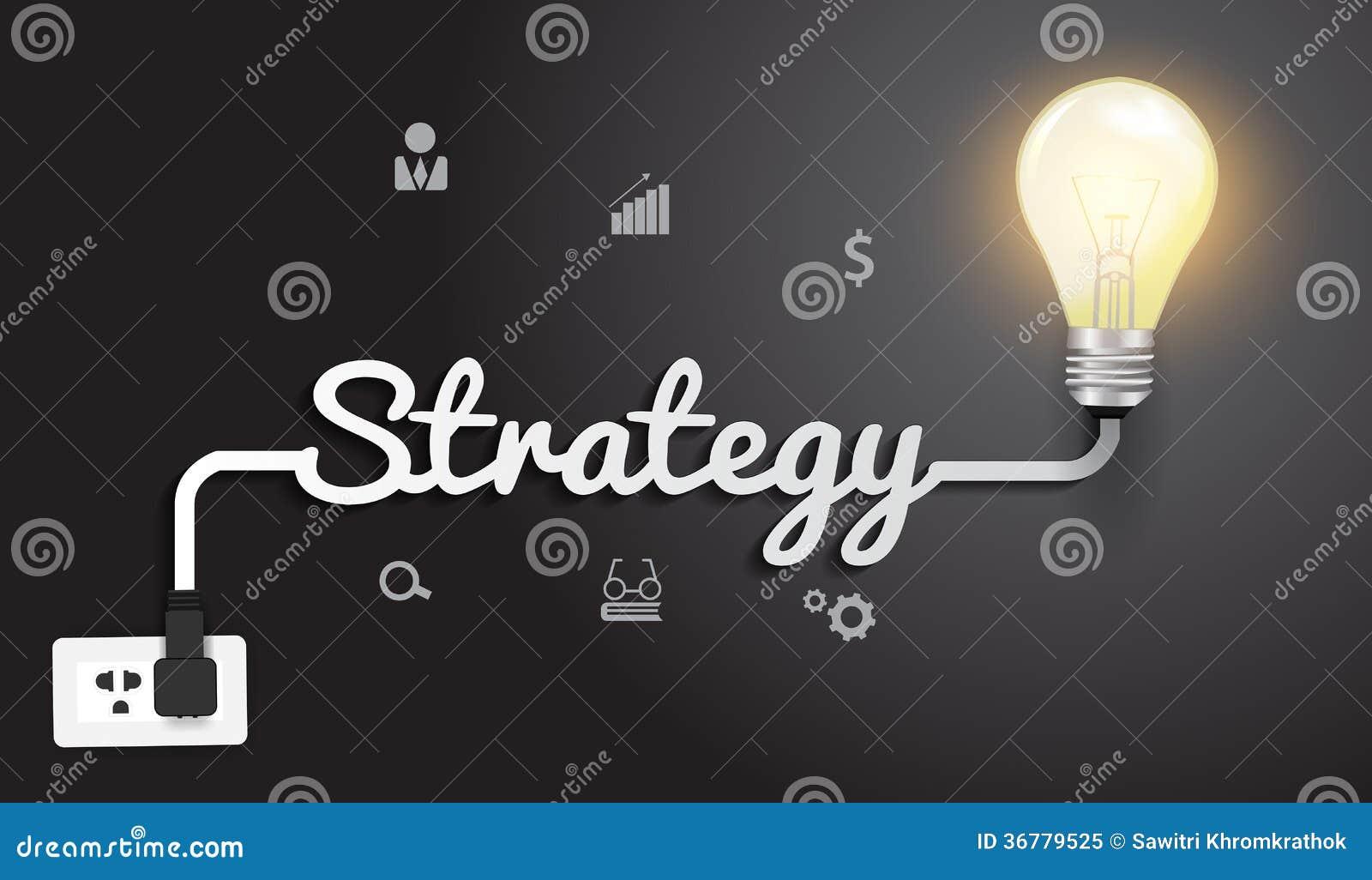 Vector el concepto de la estrategia con la bombilla creativa i