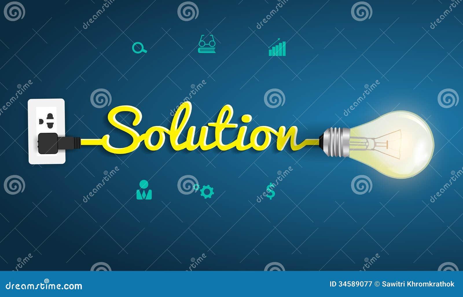 Vector el concepto de la solución con la bombilla creativa i