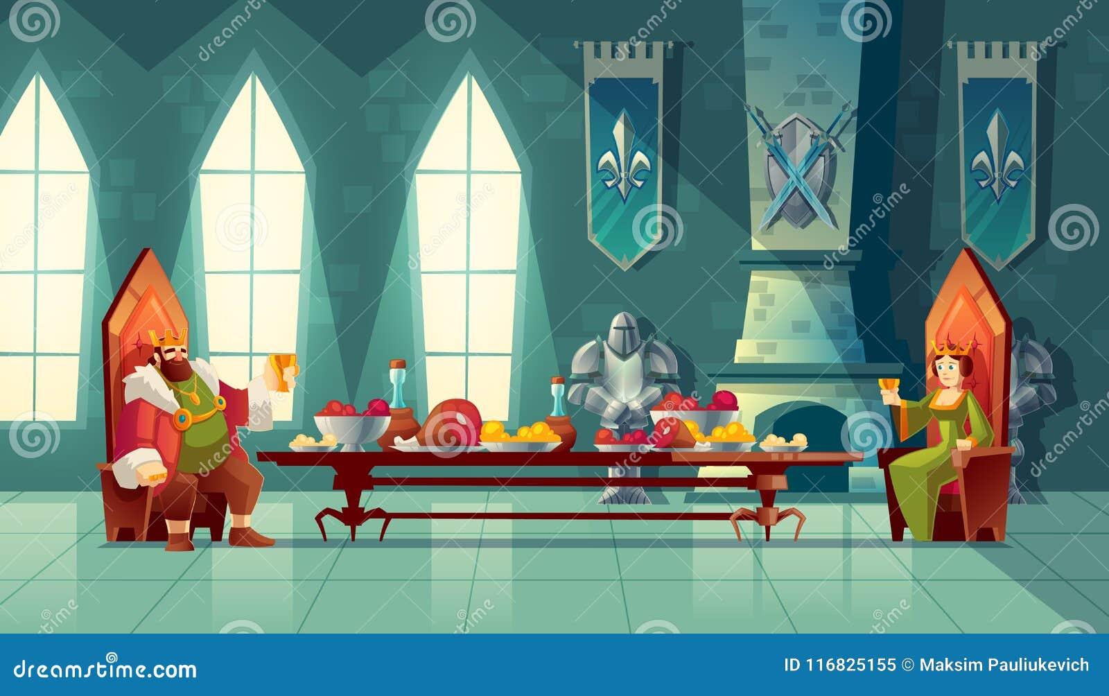 Vector el concepto del banquete, rey, reina come la comida