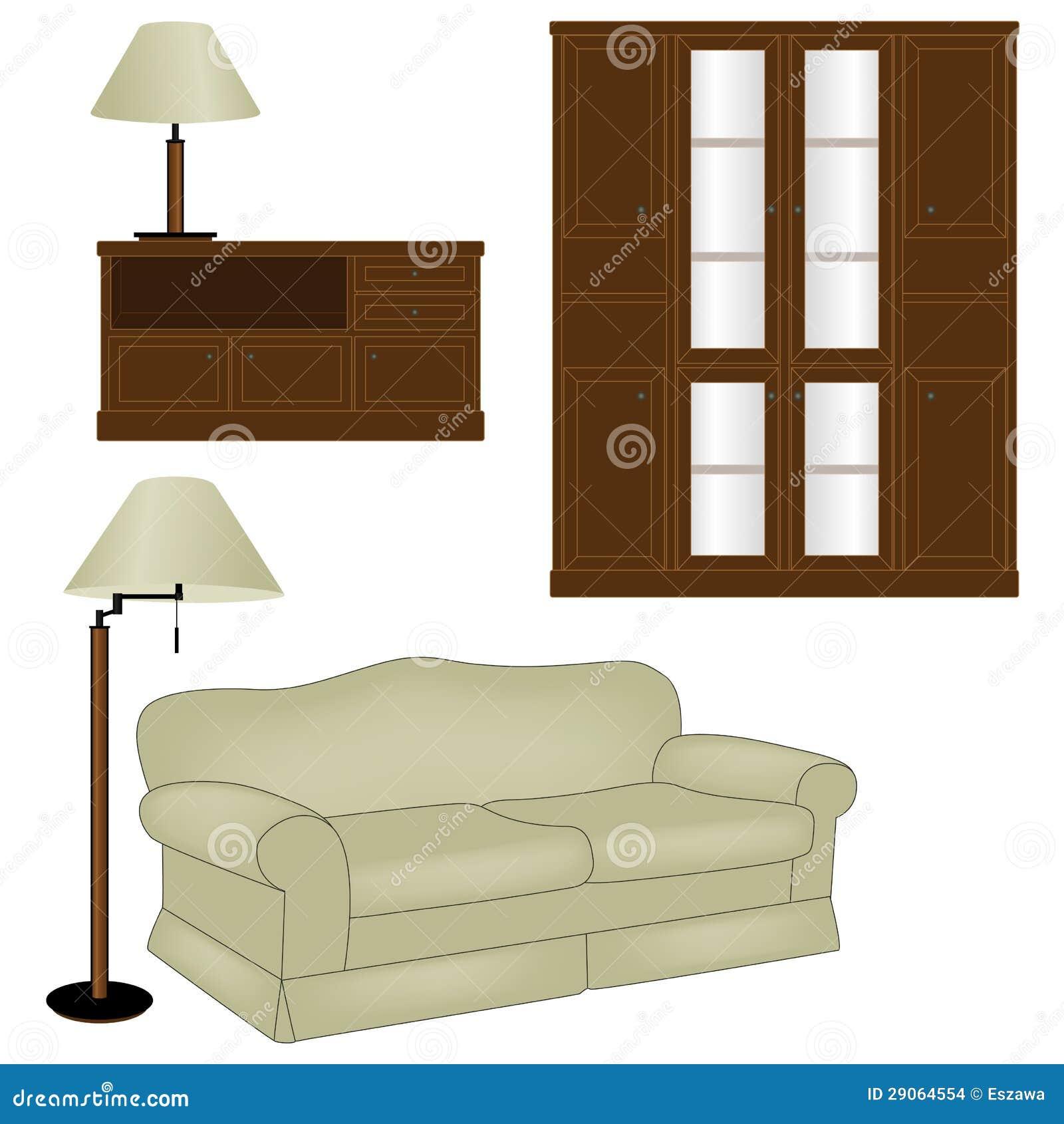 Vector el conjunto de muebles antiguos