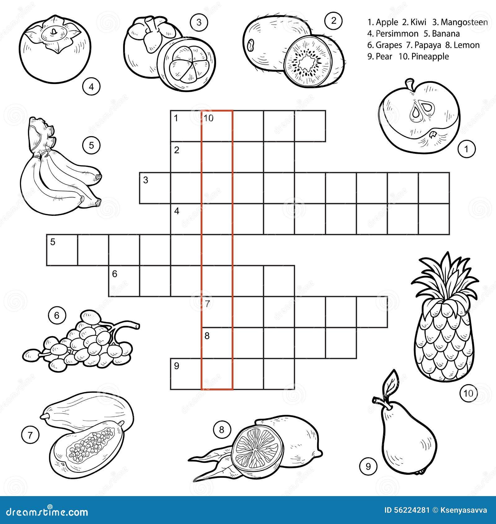 Vector El Crucigrama Juego Para Los Niños Sobre Las Frutas