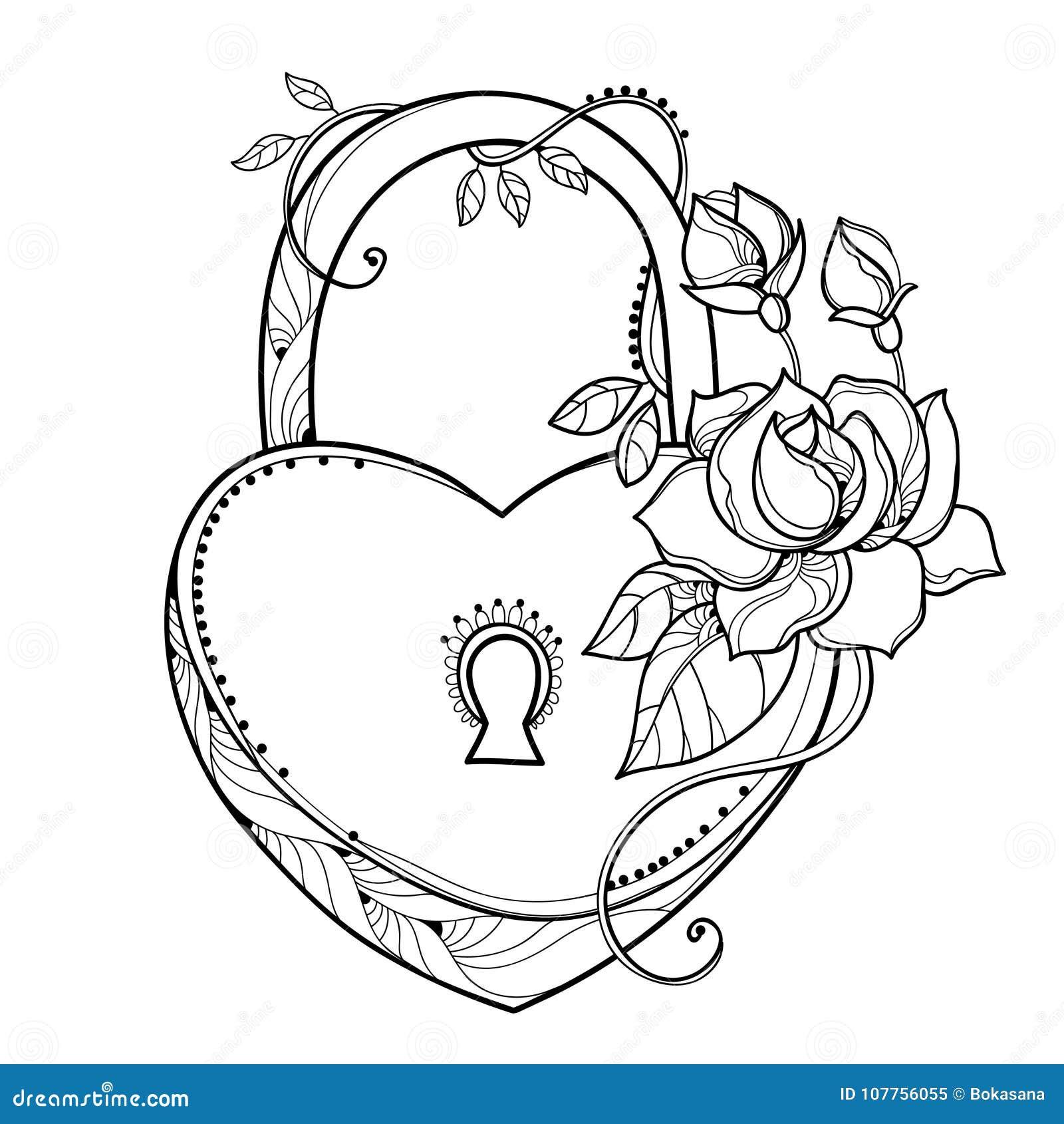Vector El Dibujo Del Corazón De La Cerradura Con Las Rosas, La Hoja ...