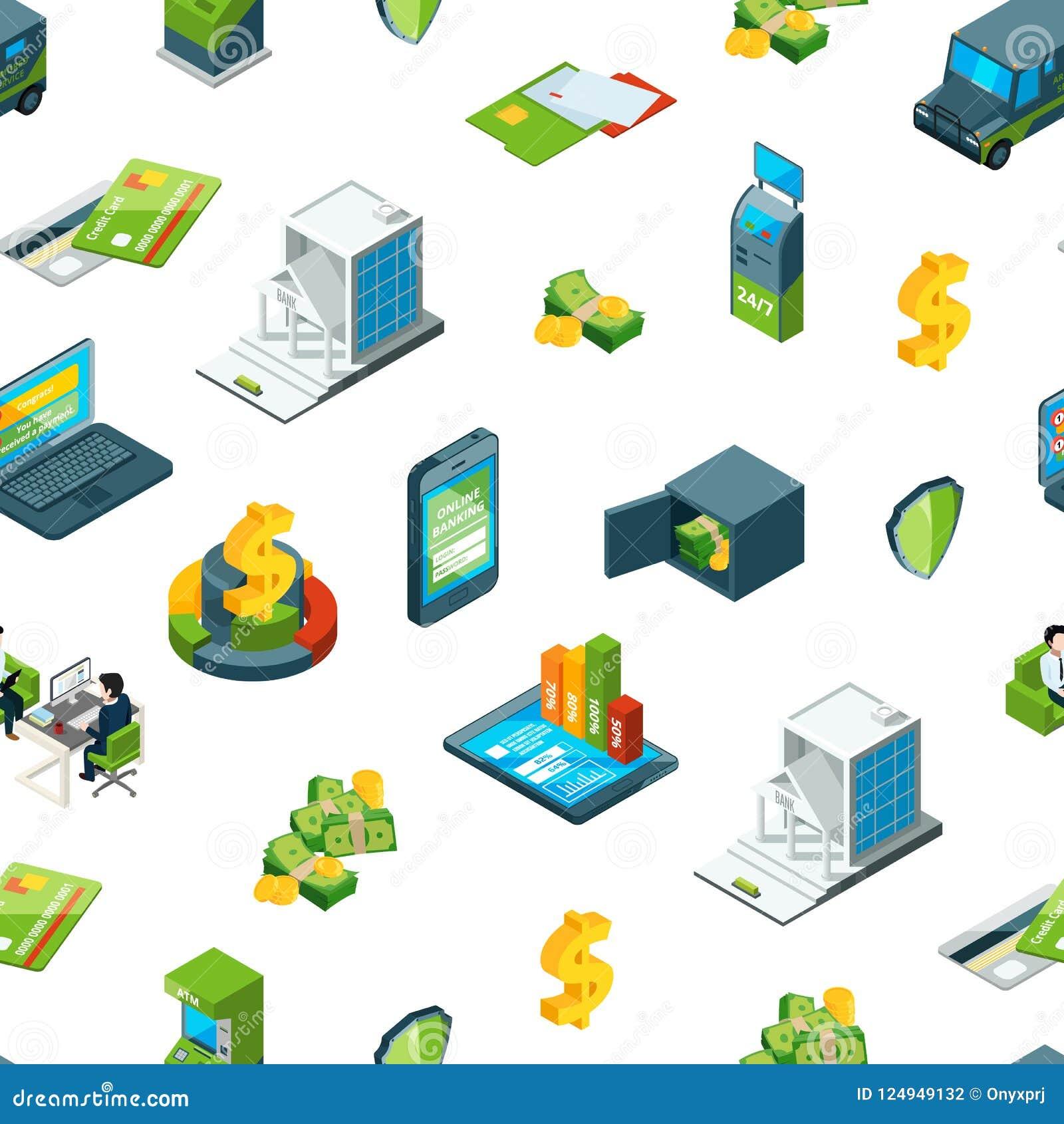 Vector el dinero isométrico en el ejemplo del modelo de los iconos del banco
