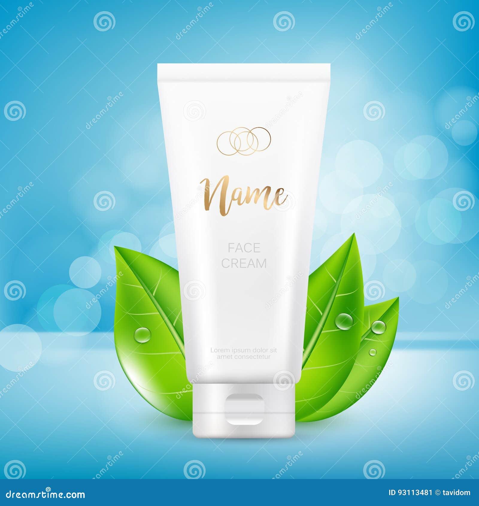 Vector el diseño de plantilla cosmética de la publicidad del paquete para la crema de la mano o de cara Mofa encima del tubo en f