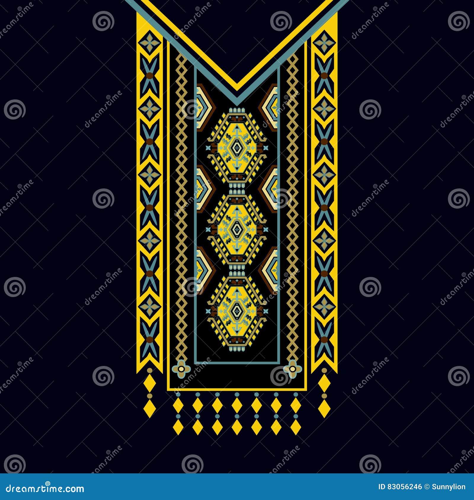 Vector el diseño para las camisas del cuello, las blusas, camiseta Cuello étnico de dos flores de los colores Frontera decorativa