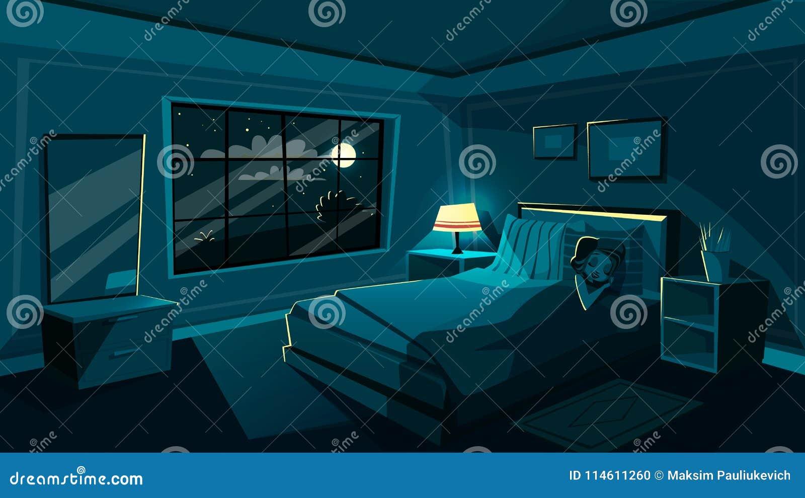 Vector el dormitorio lindo el dormir de la mujer joven en la noche