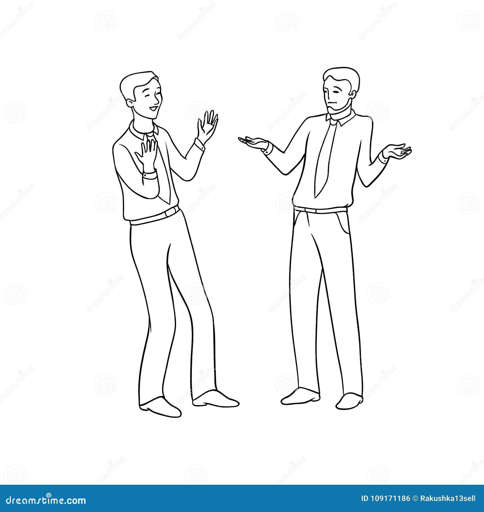 Vector el ejemplo aislado contorno negro del bosquejo de hombres de negocios Intercambio emocional de opiniones y de ideas,