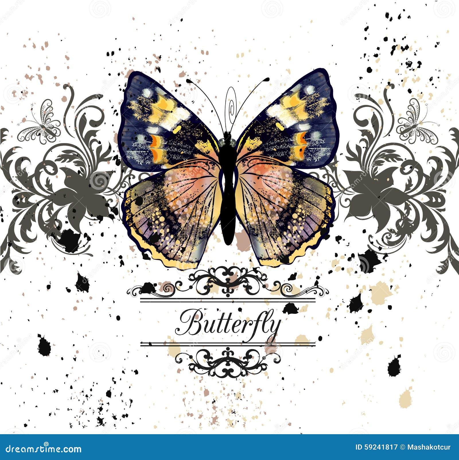 Vector el ejemplo con la mariposa detallada en estilo del vintage