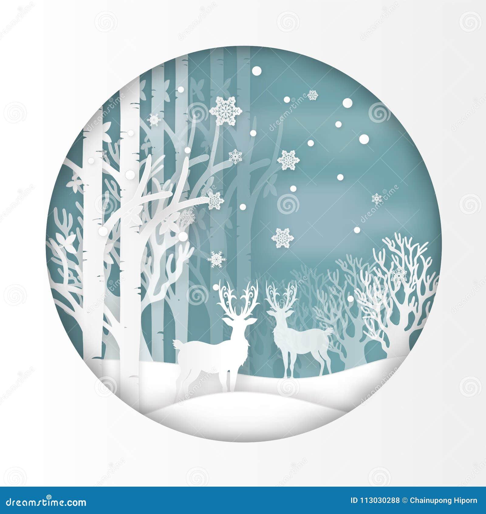 Vector el ejemplo de ciervos en bosque con nieve en la estación y la Navidad del invierno Arte y artes de papel del diseño