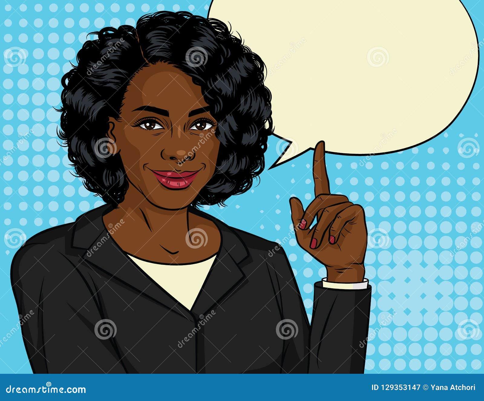 Vector el ejemplo de color de la mujer de negocios afroamericana acertada