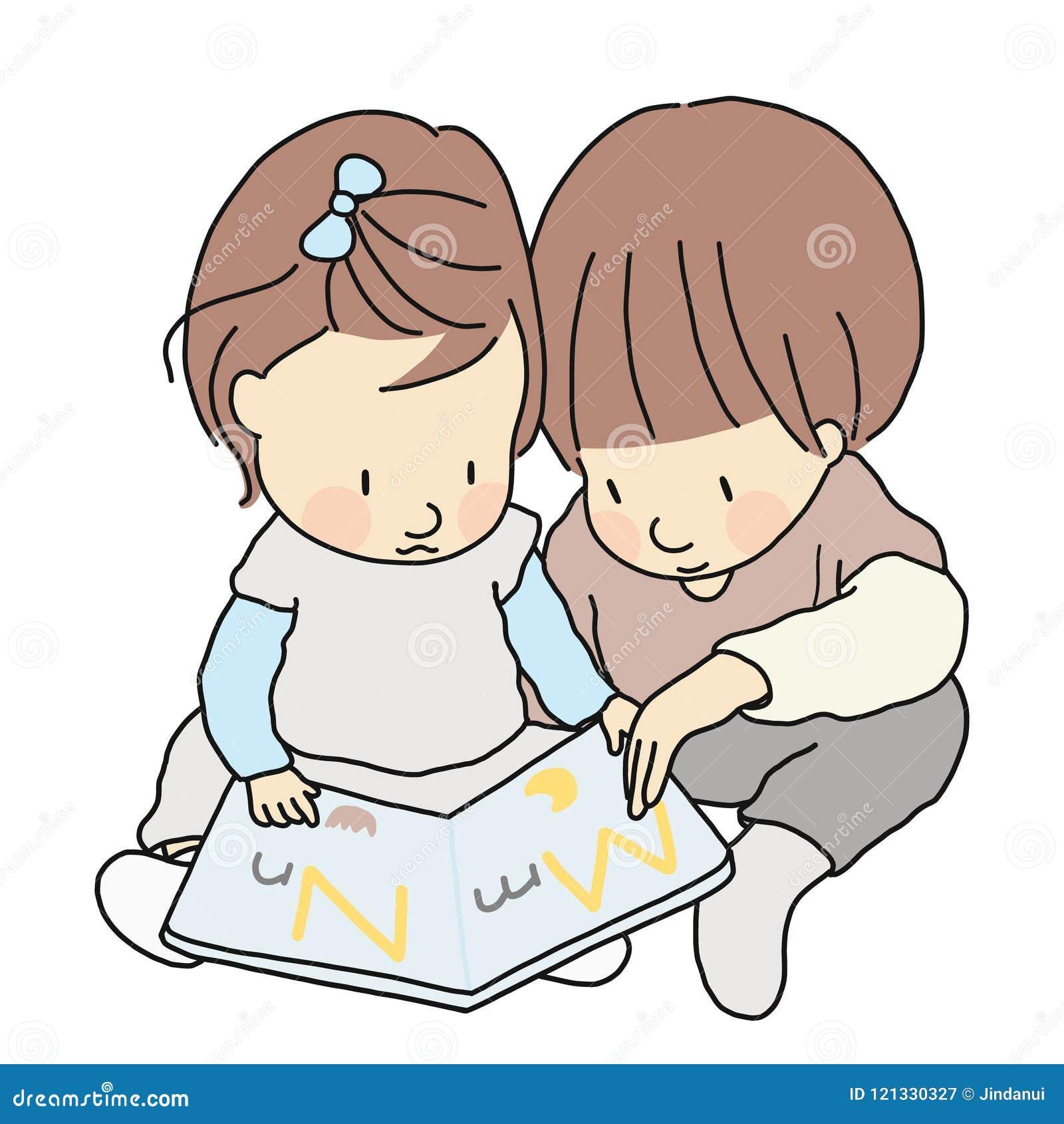 Vector el ejemplo de dos libros del alfabeto del ABC de los niños, del hermano y de la hermana, de la sentada y de la lectura jun