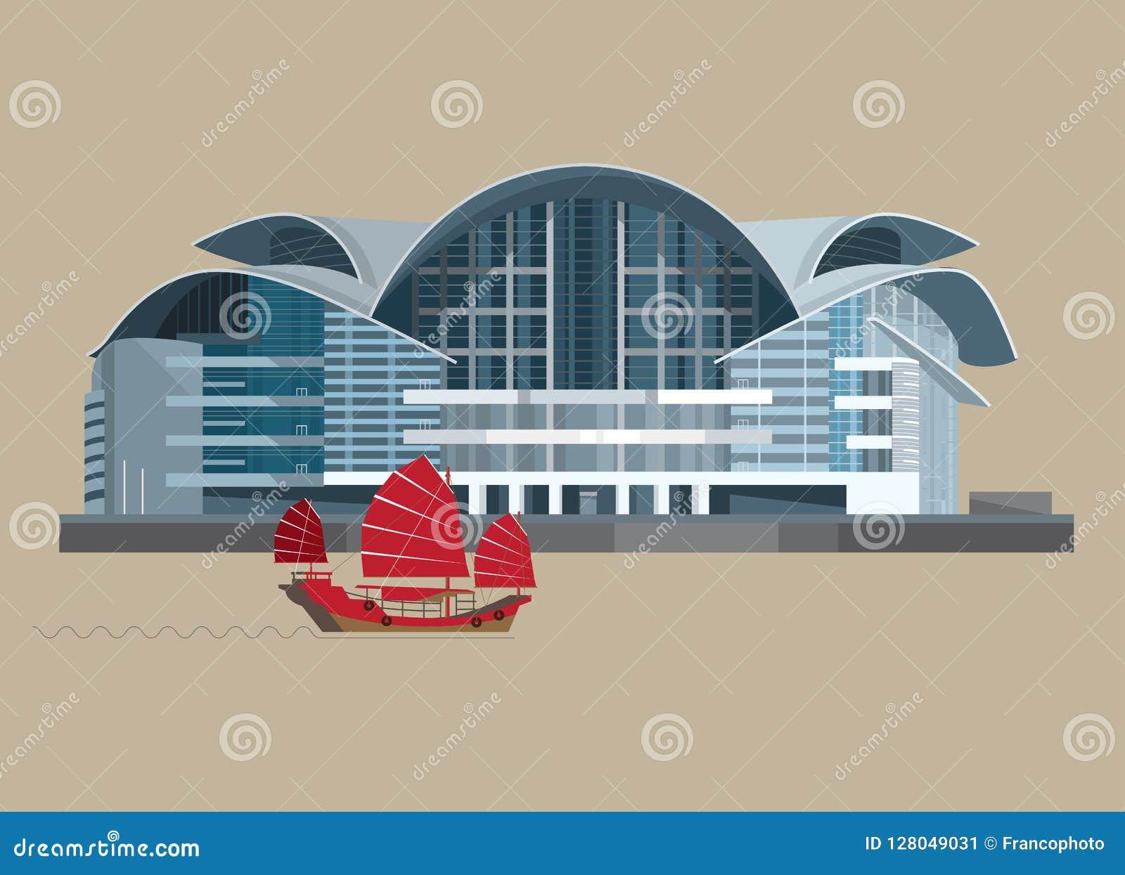 Vector el ejemplo de la fase II del centro HKCEC de Hong Kong Convention y de exposición