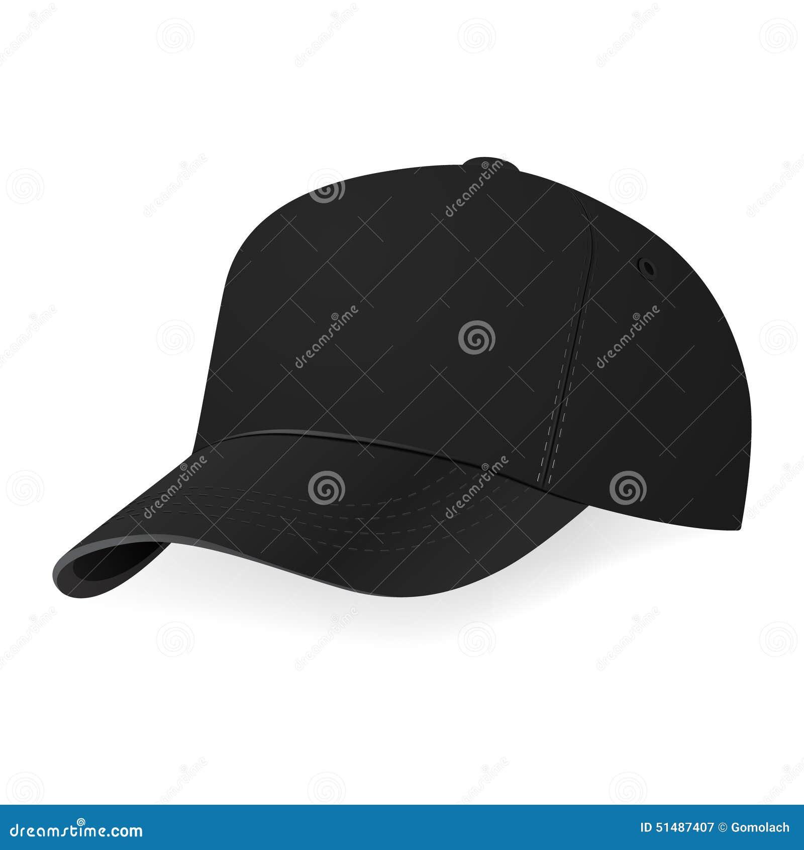 Gorra de béisbol negra en un media vuelta en fondo negro Ilustración del  vector eps10 c0b18469bd0