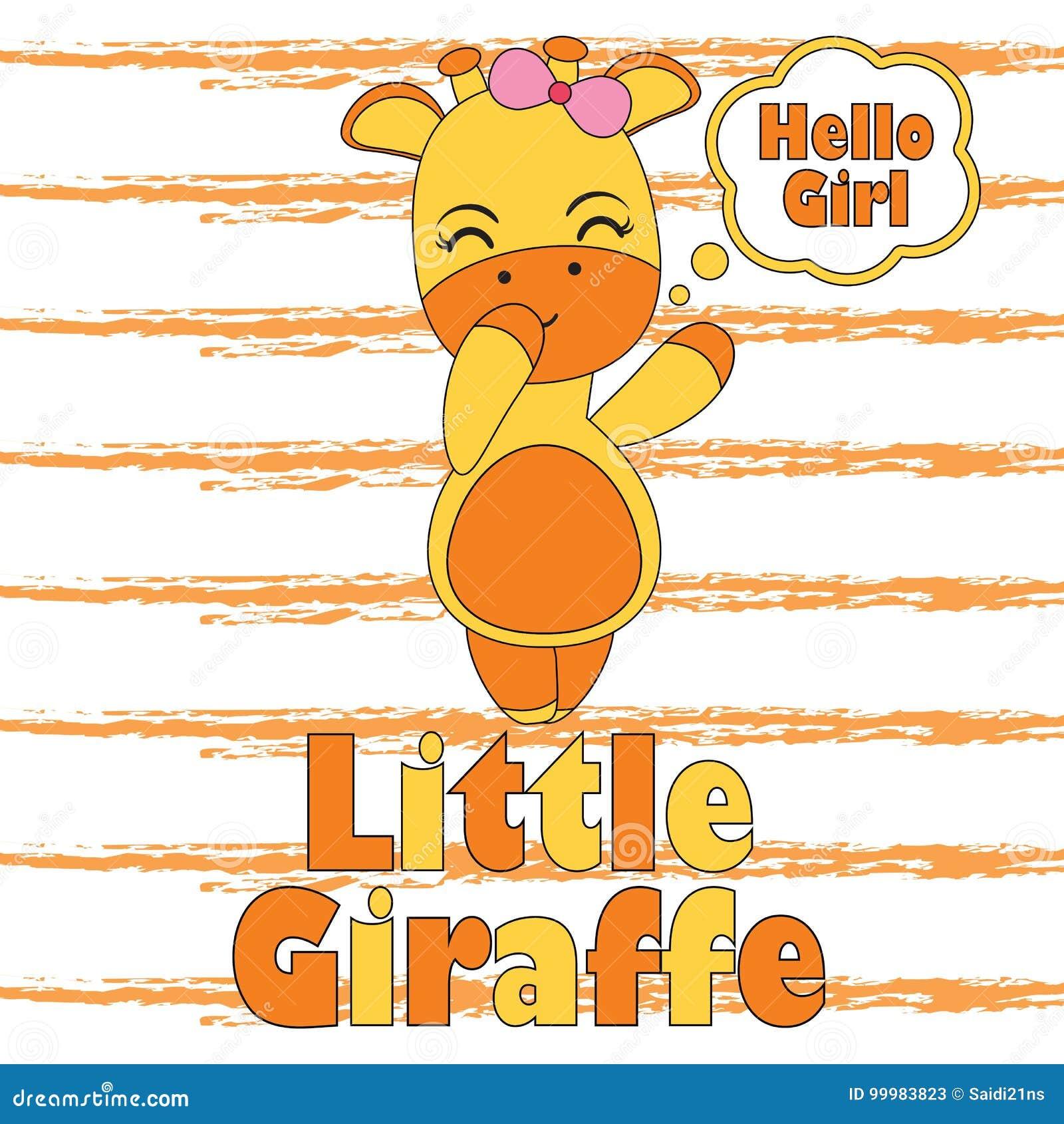 Vector el ejemplo de la historieta con la pequeña jirafa linda para el  diseño gráfico de 9f8e61982de6d