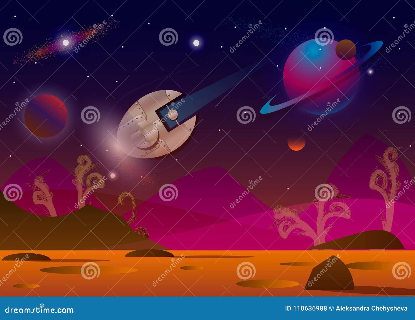 Vector el ejemplo de la nave espacial que vuela sobre el planeta extranjero t en espacio abierto