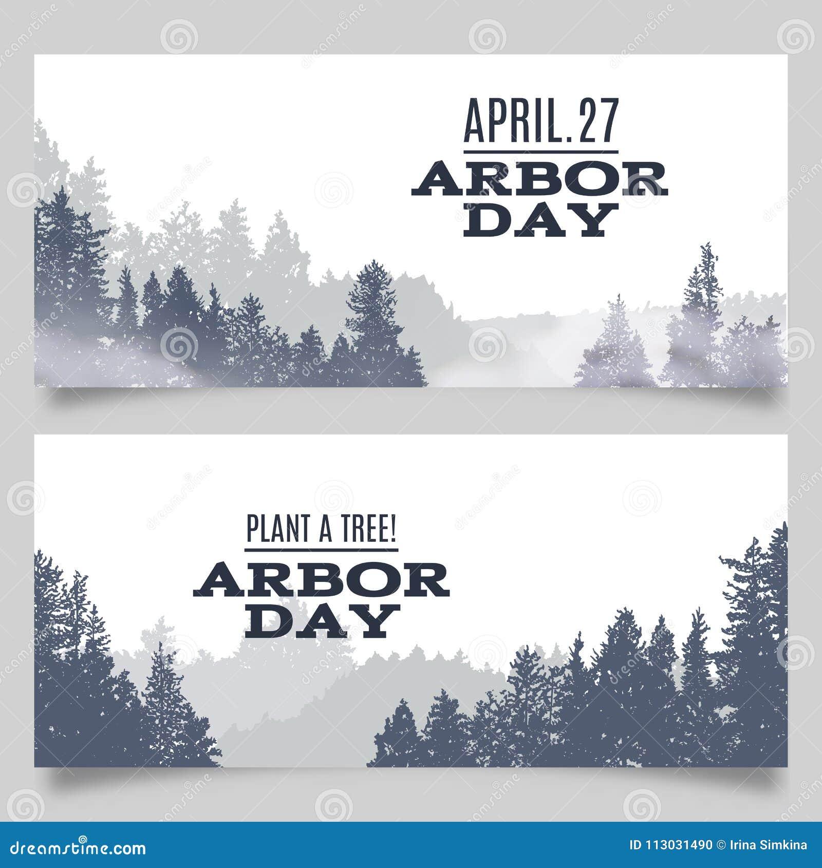 Vector el ejemplo de la tipografía del día del árbol con el árbol verde