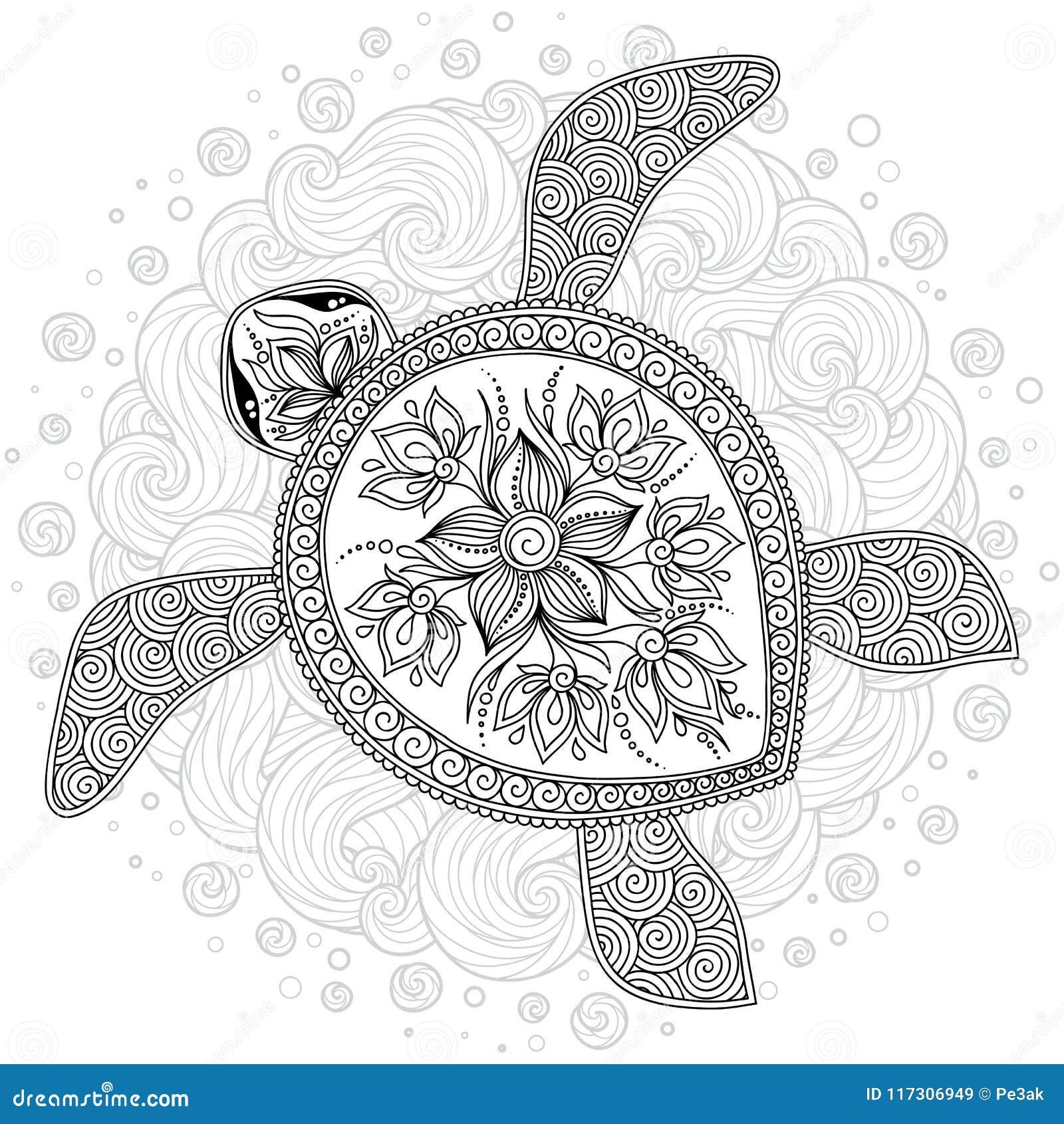Vector El Ejemplo De La Tortuga De Mar Para Las Páginas Del Libro De ...