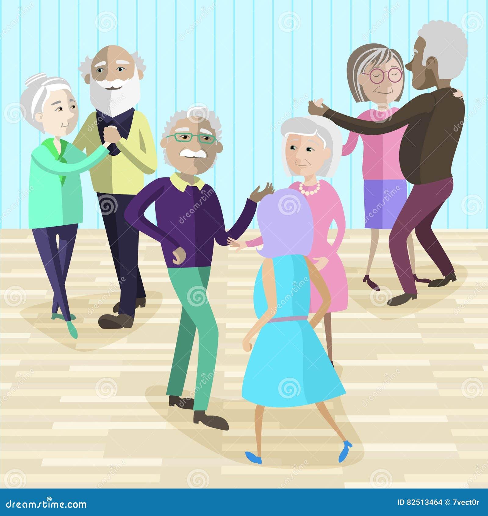 Vector el ejemplo de las personas mayores que bailan en el partido