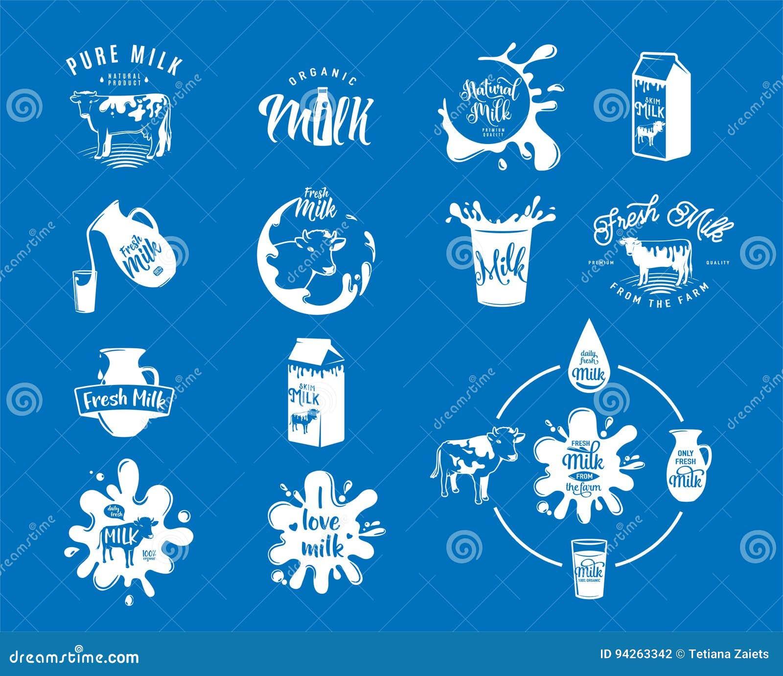 Vector el ejemplo de los logotipos frescos de la leche de la lechería, sellos para el producto natural lechoso
