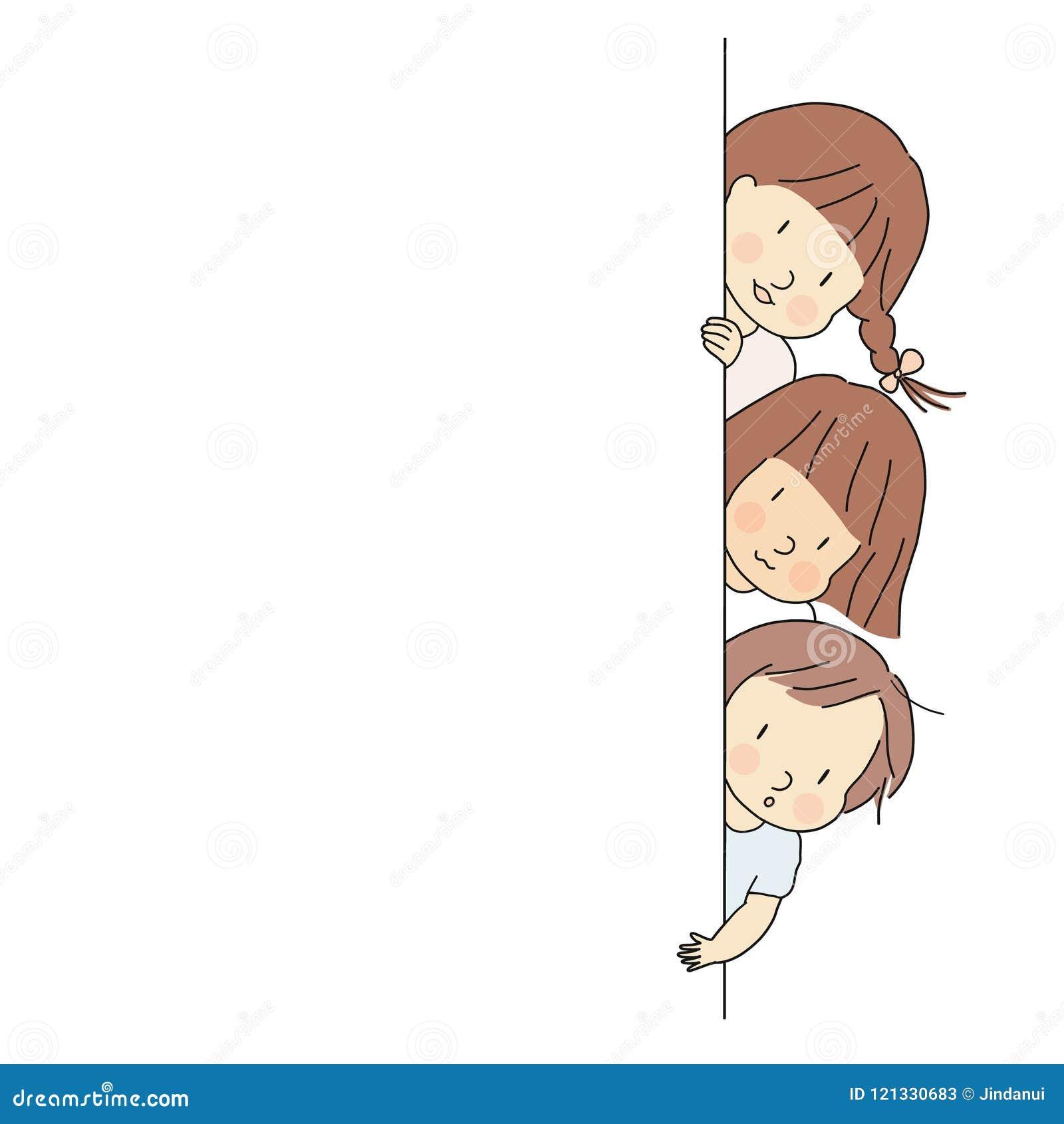 Vector el ejemplo de los niños, muchacho y muchachas, mirando a escondidas hacia fuera detrás de la pared Mire a escondidas un ab
