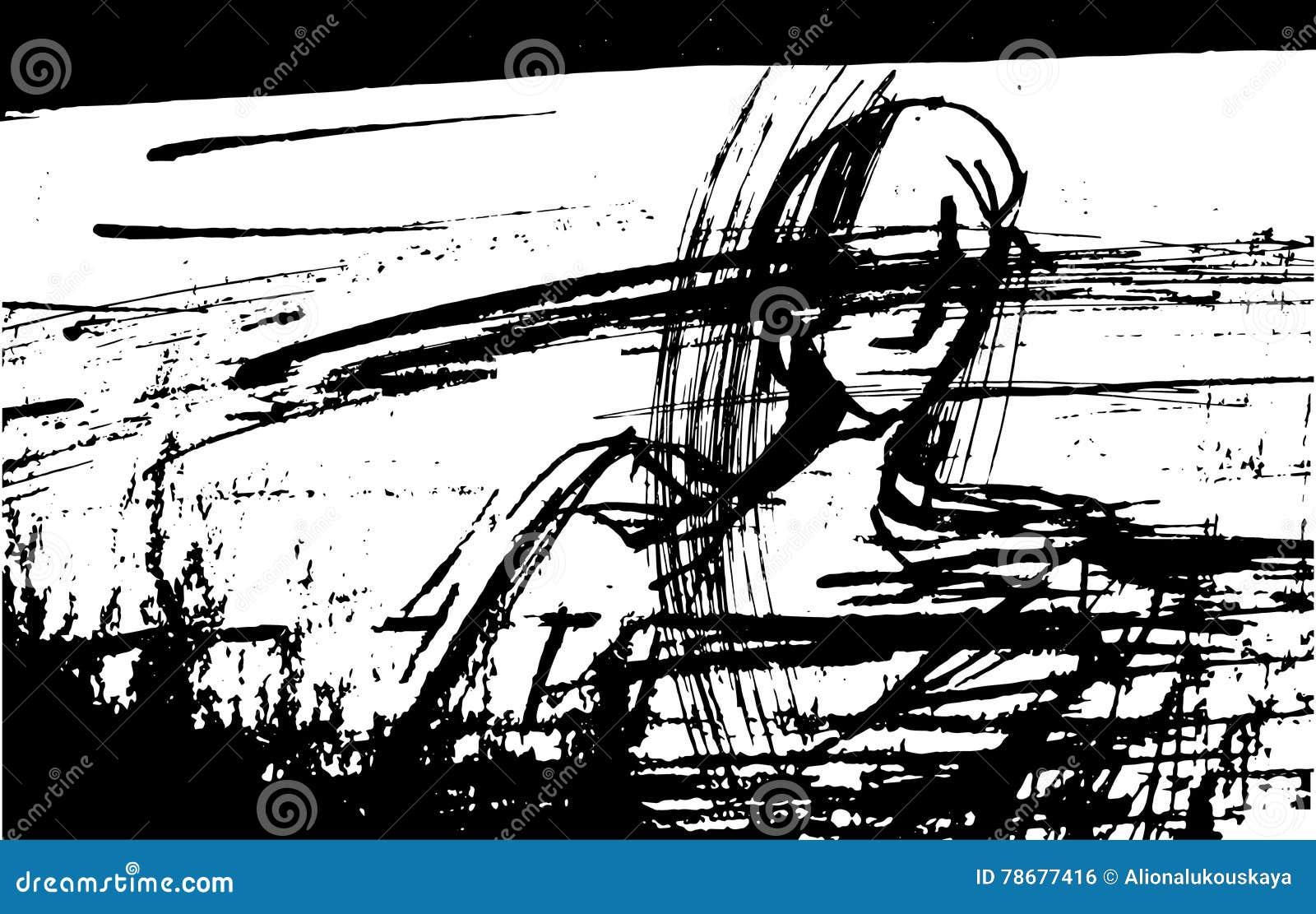 Vector el ejemplo de un hombre con sus ojos cerrados, estilizado, gráfico, tinta, líneas, puntos,