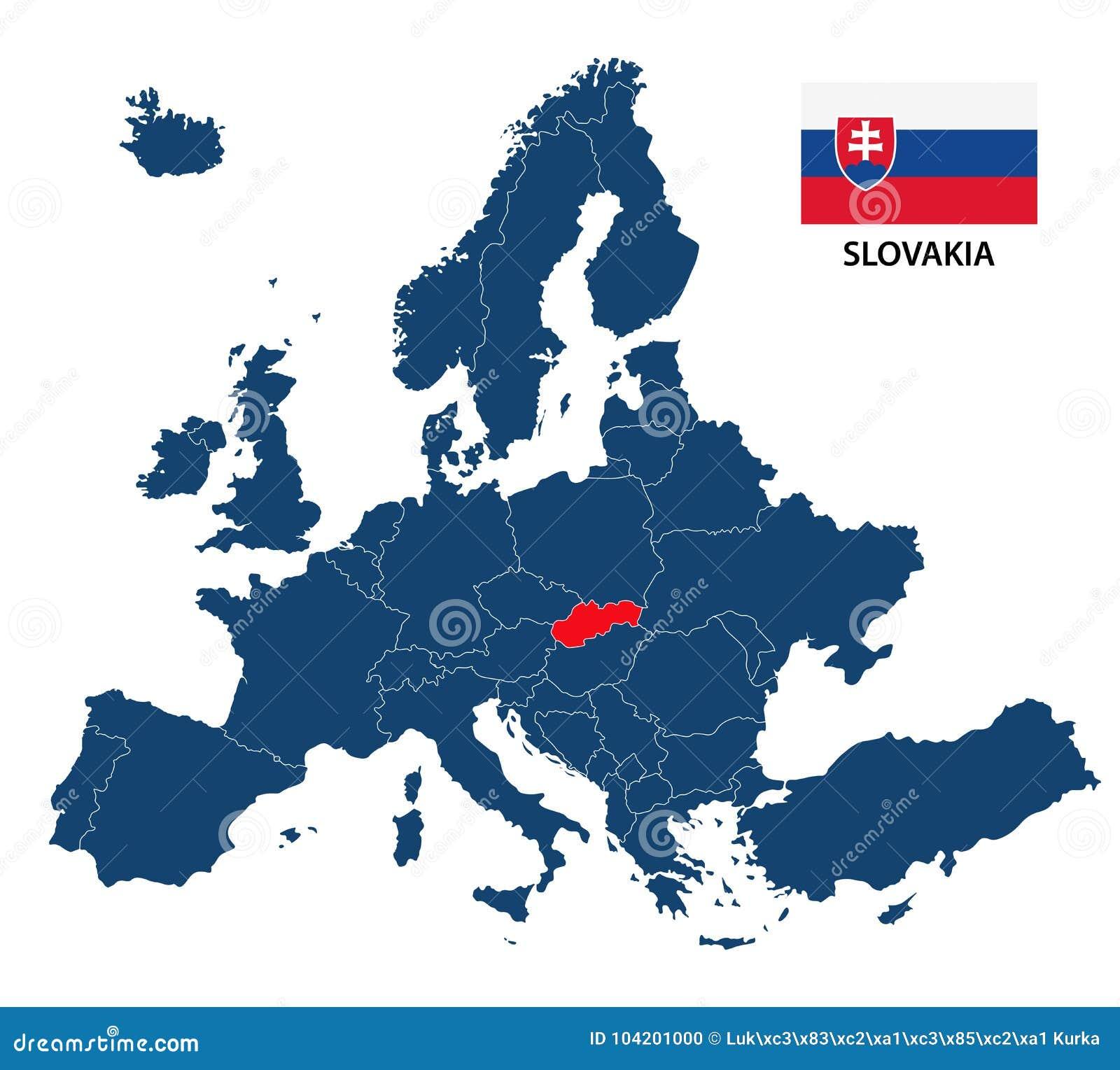 Vector El Ejemplo De Un Mapa De Europa Con Eslovaquia Destacada