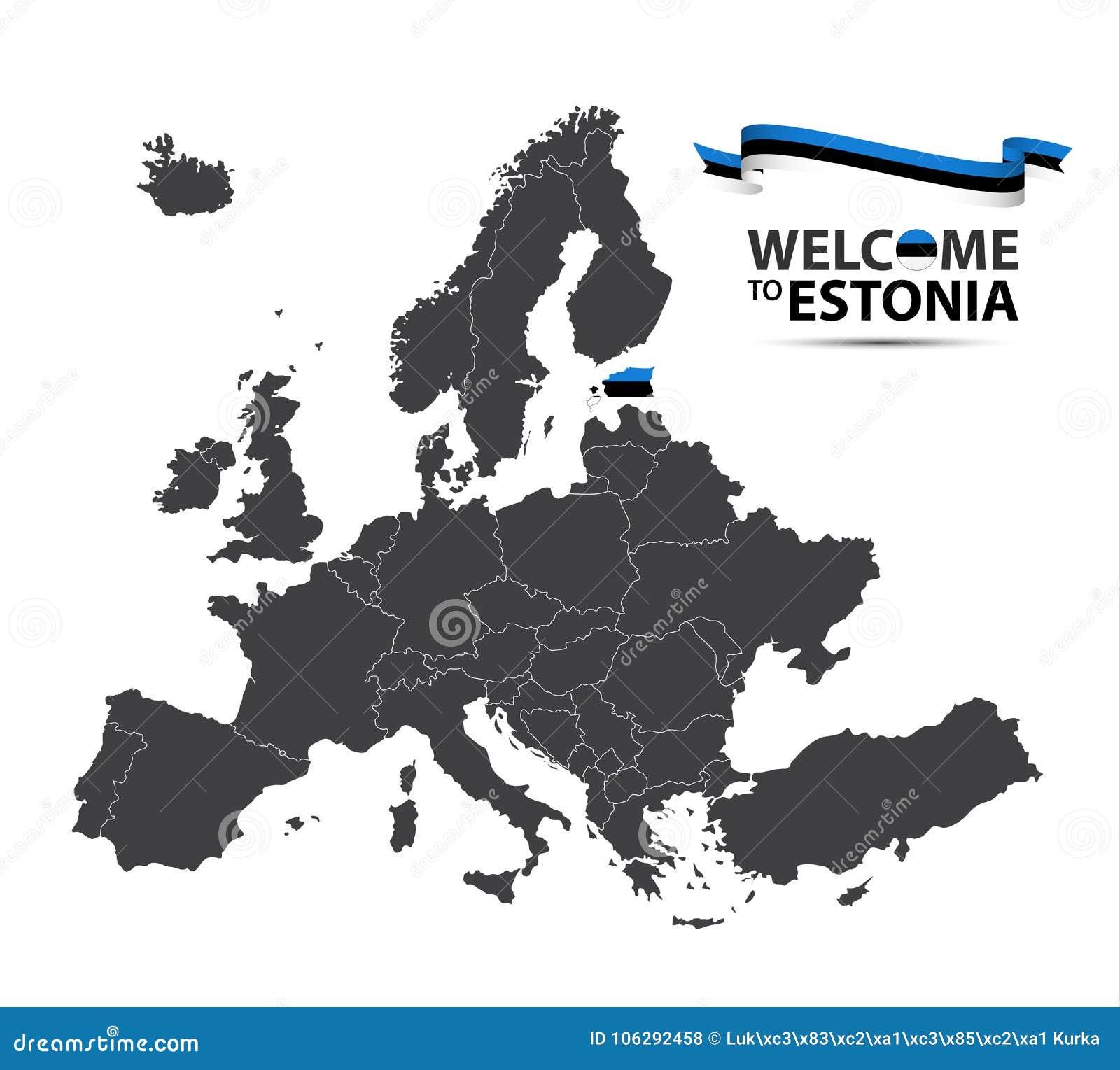 Vector el ejemplo de un mapa de Europa con el estado de Estonia