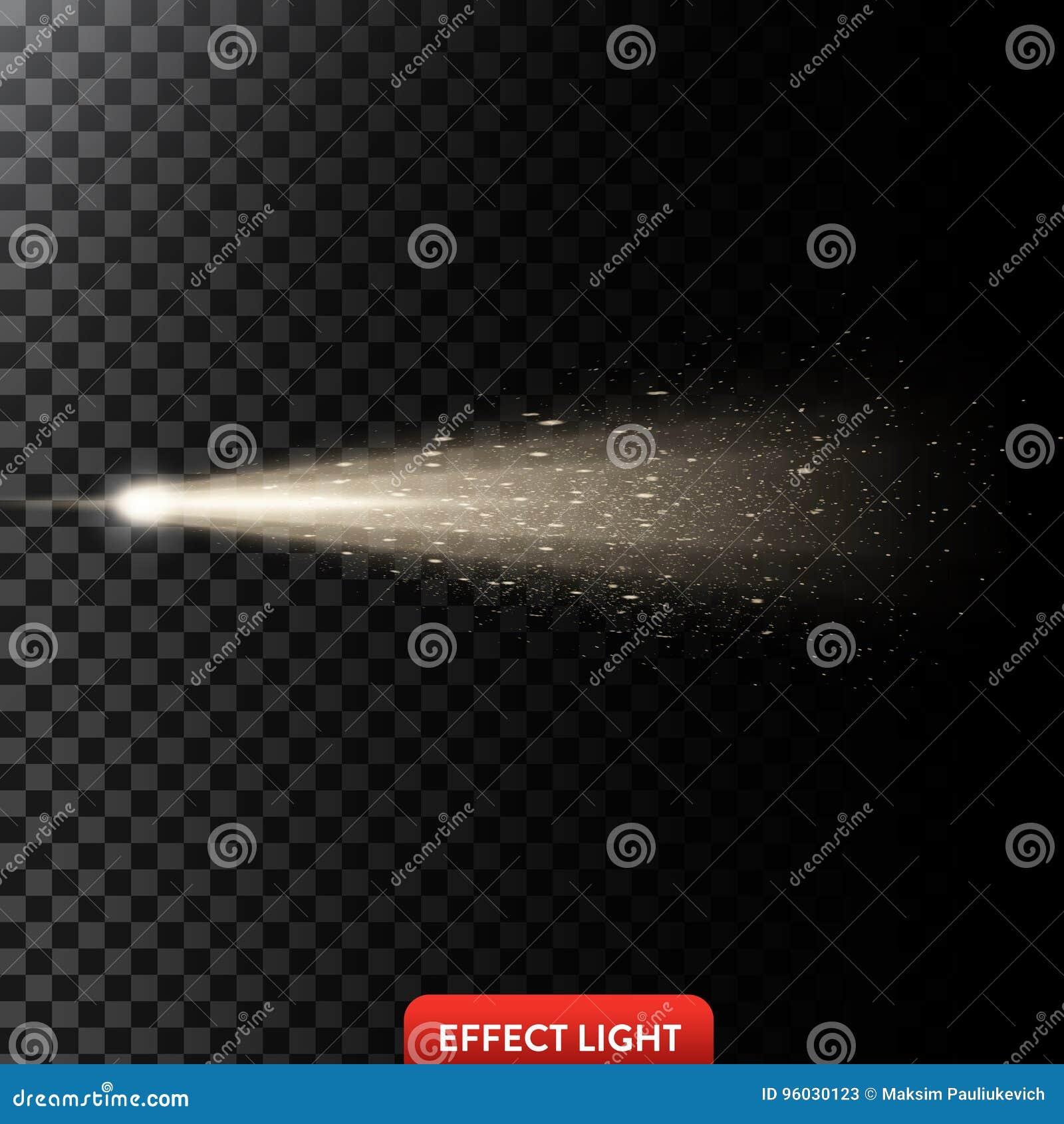 Vector el ejemplo de un rayo ligero de oro con brillo, un haz luminoso con las chispas