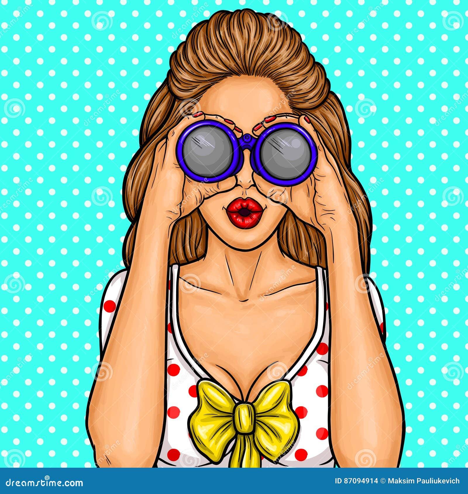 Vector el ejemplo del arte pop de una muchacha atractiva joven que mira con los prismáticos para los descuentos