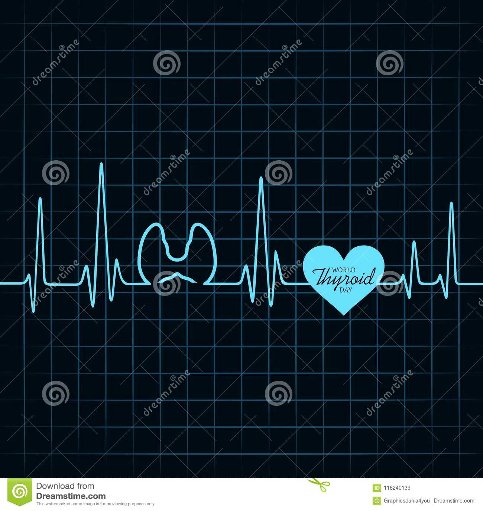 Vector el ejemplo del cartel del día de la tiroides del mundo - concepto médico