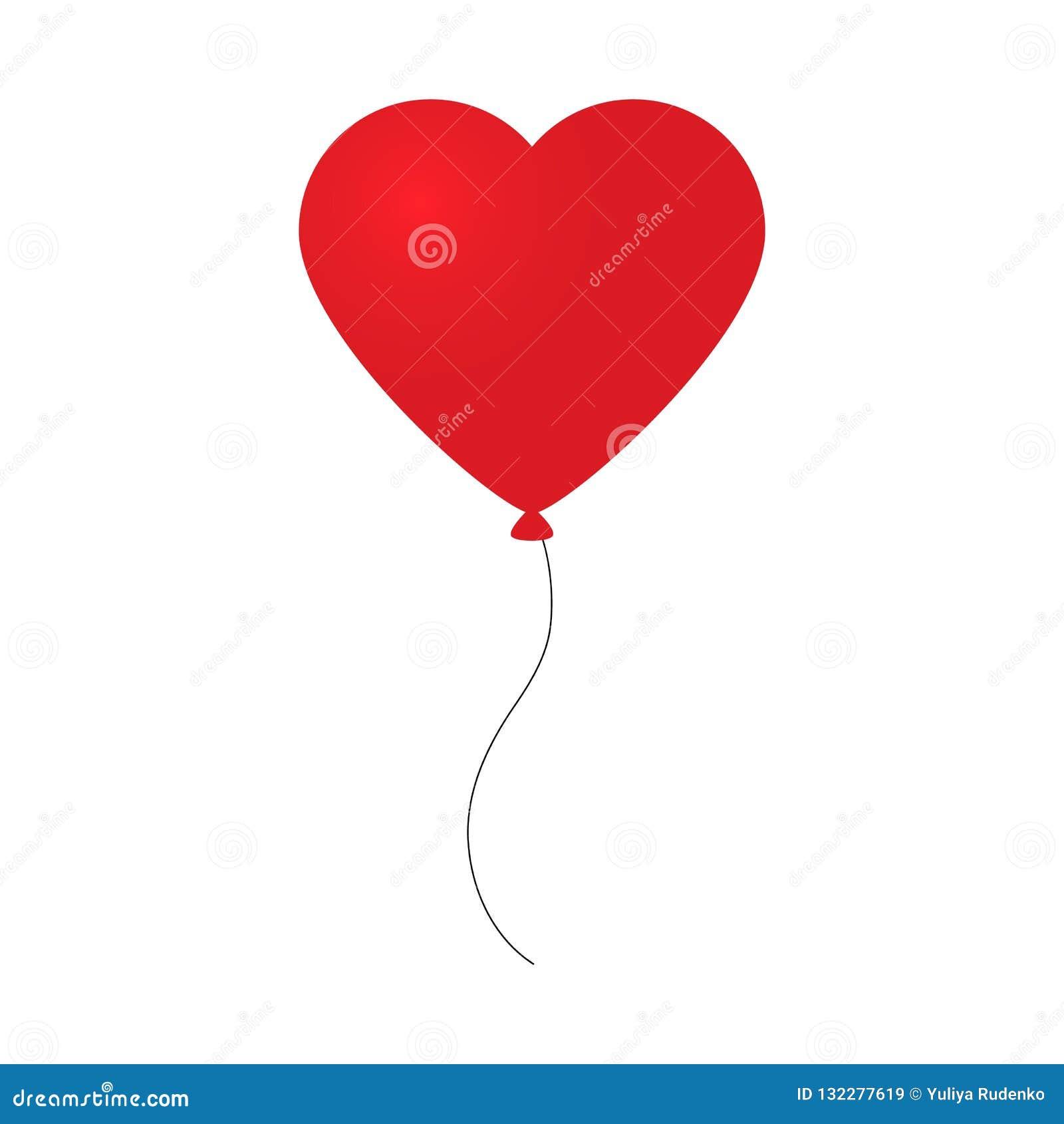 Vector el ejemplo del día de fiesta de volar el globo rojo en la forma de corazón en fondo ligero