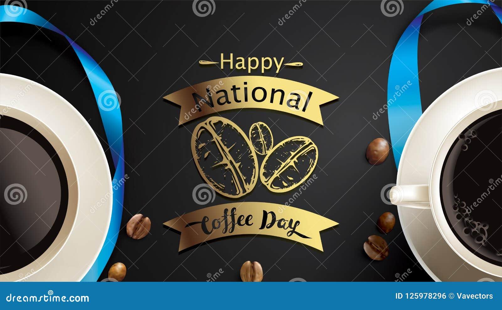 Vector el ejemplo del día internacional o nacional feliz del café con las letras de la mano Conveniente para la tarjeta de felici