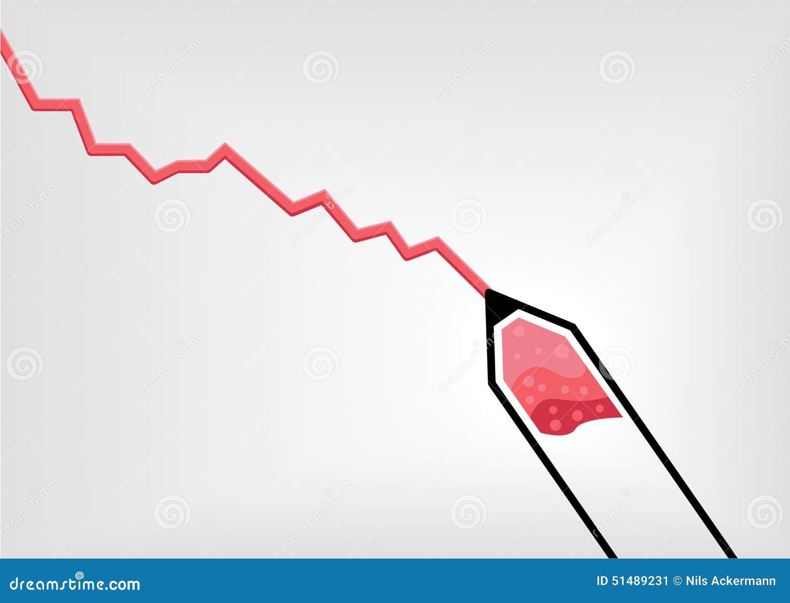 Vector el ejemplo del dibujo rojo de la pluma o de lápiz una curva de crecimiento negativo decreciente