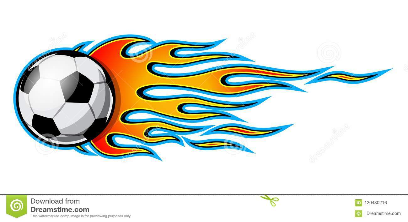 Vector el ejemplo del icono ardiente del balón de fútbol del fútbol con las  llamas del coche de carreras Ideal para la etiqueta engomada cbaaf40252f29