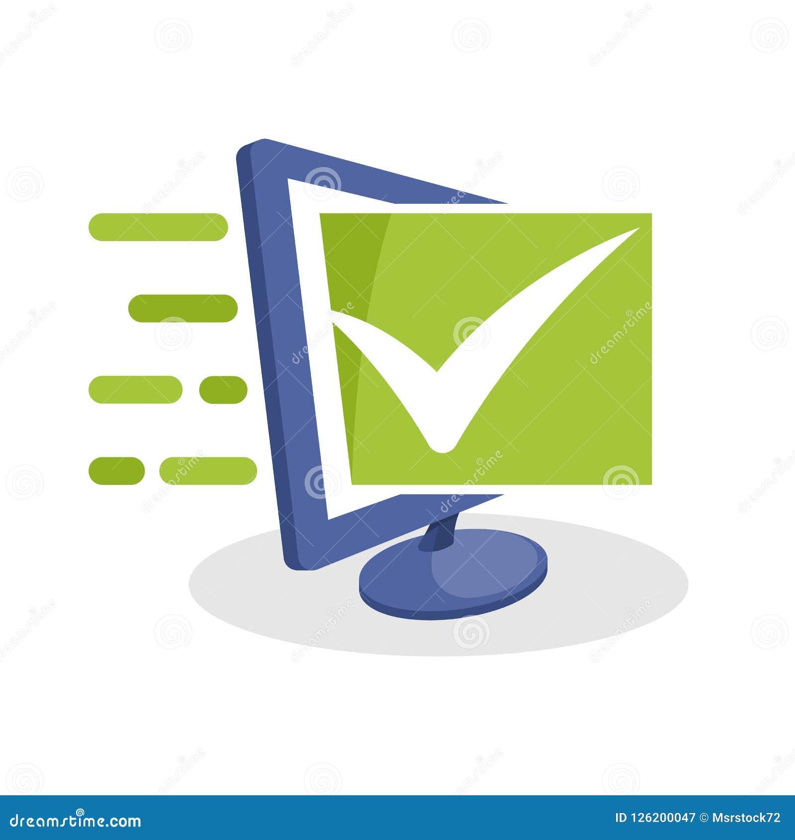 Vector el ejemplo del icono con medios conceptos digitales sobre la verificación en línea, comentario en línea, encuesta en línea