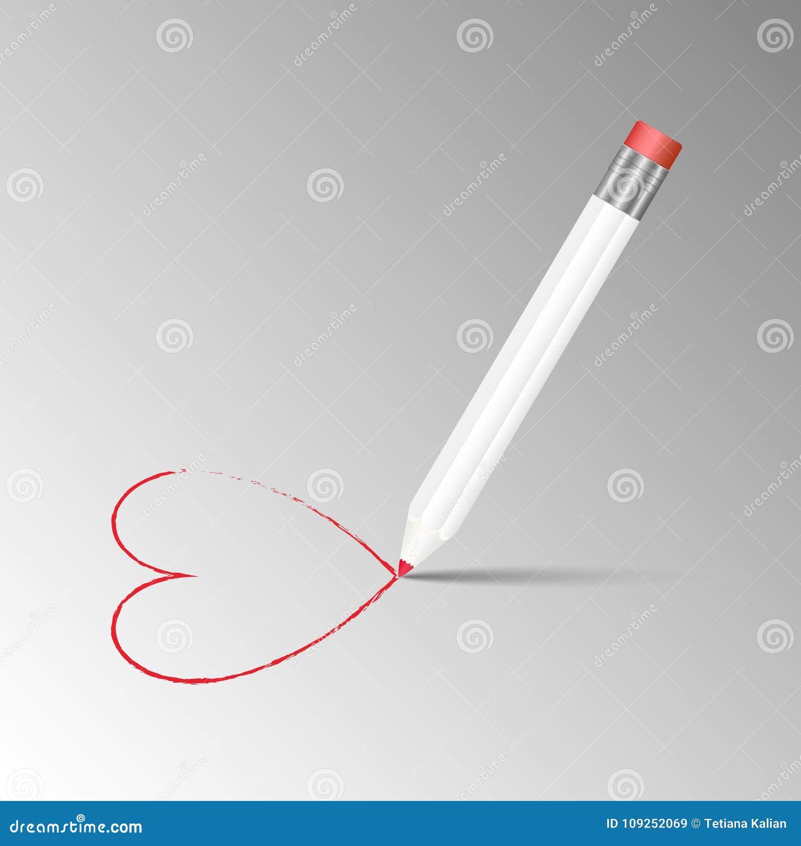 Vector el ejemplo del lápiz blanco afilado del grafito de madera detallado con el borrador en el top que dibuja un corazón rojo e