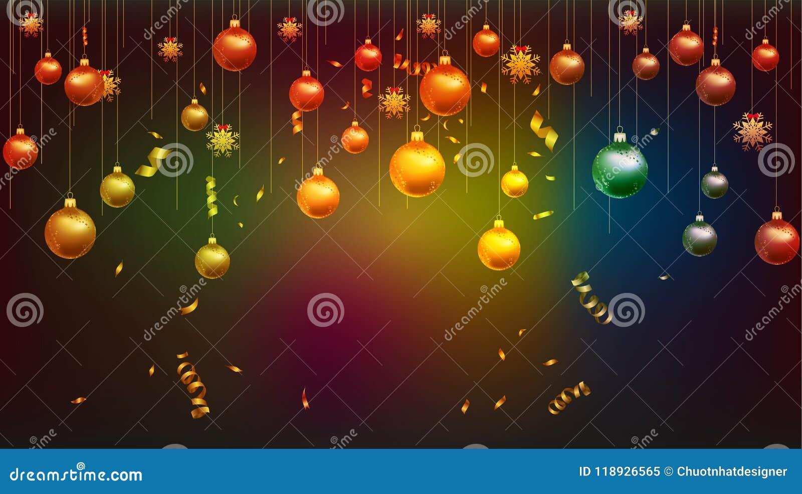Vector el ejemplo del oro del papel pintado de la Feliz Año Nuevo 2019 y del lugar negro de los colores para las bolas de la Navi