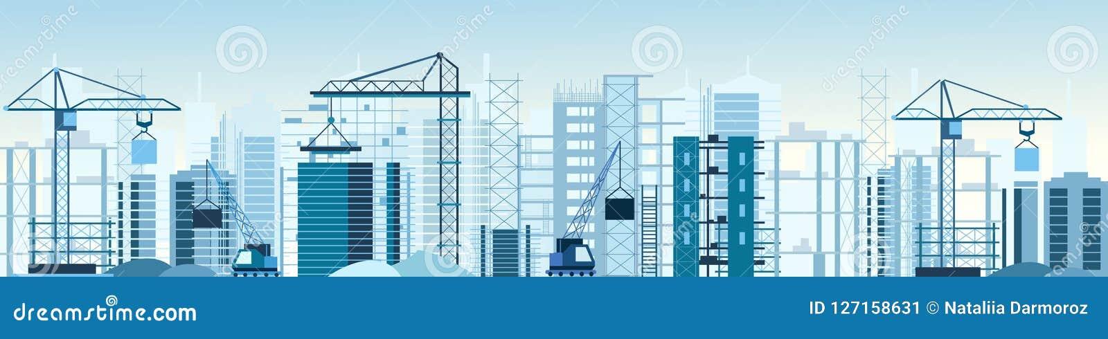 Vector el ejemplo del sitio de las construcciones de edificios y cranes la bandera Rascacielos bajo construcción excavador, volqu