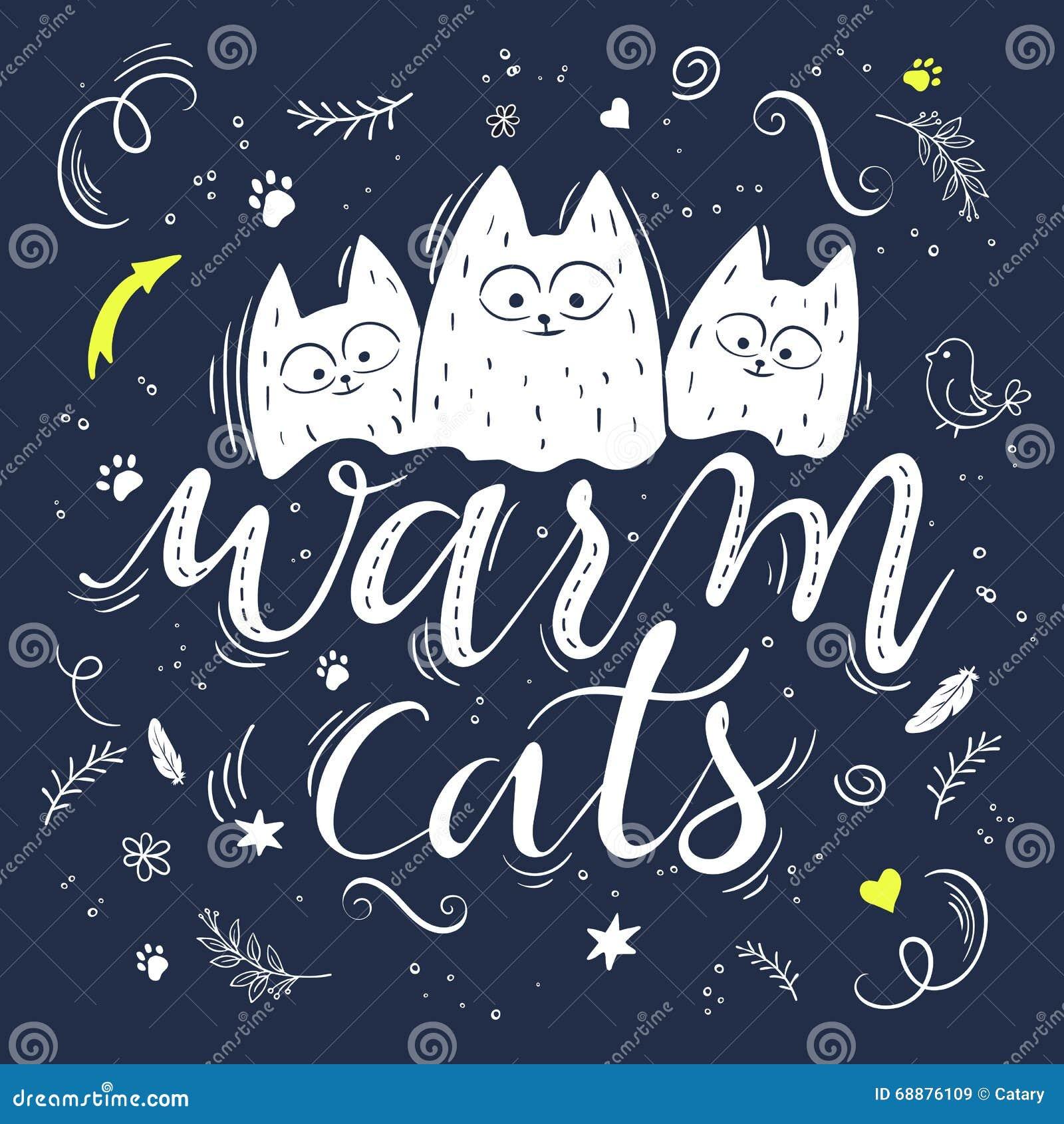 Vector el ejemplo del texto de las letras de la mano - gatos calientes Hay tres gatos mullidos lindos, rodeados con rizado, swirl