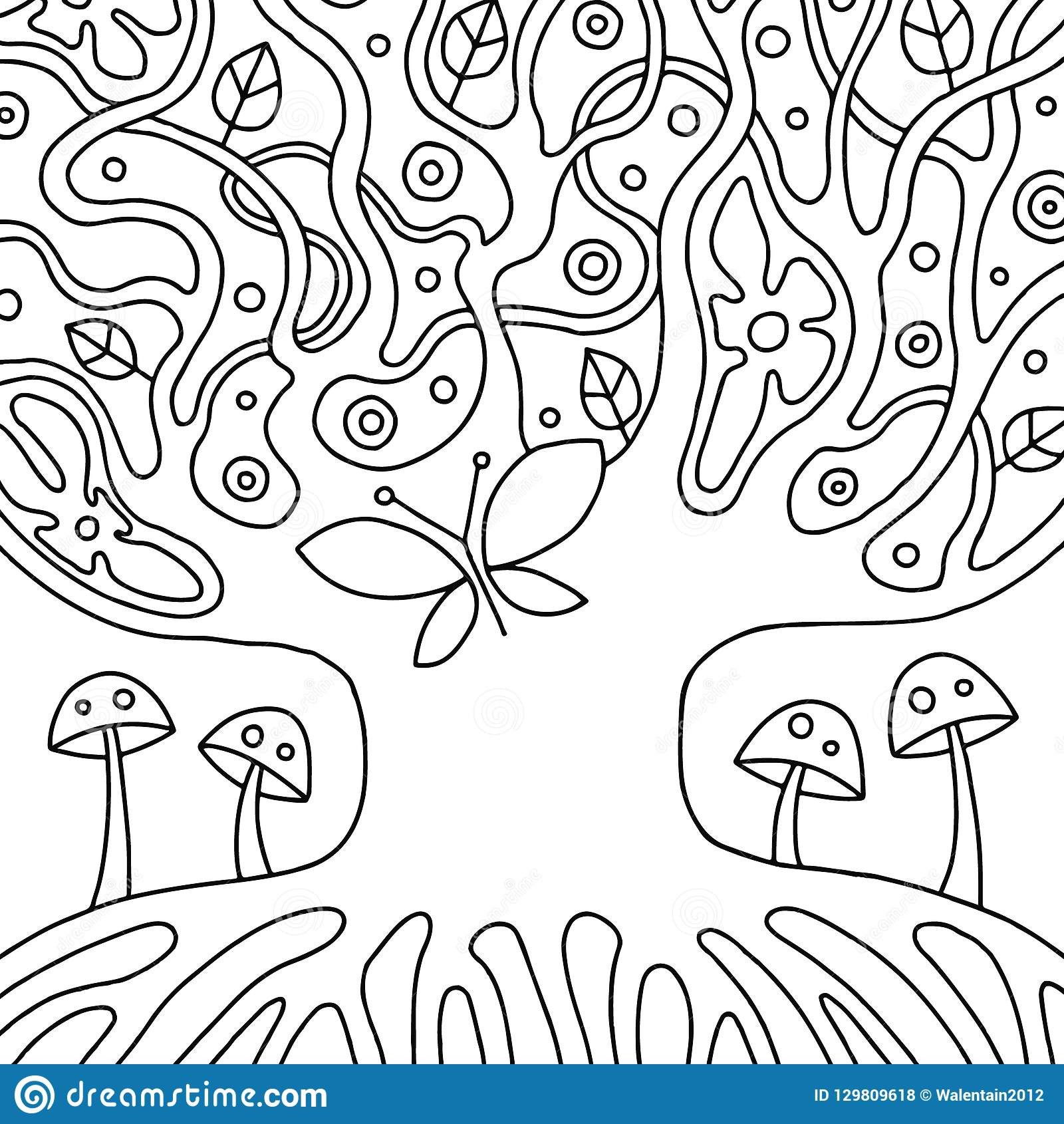 Vector El Ejemplo Dibujado Mano Blanco Y Negro Del árbol