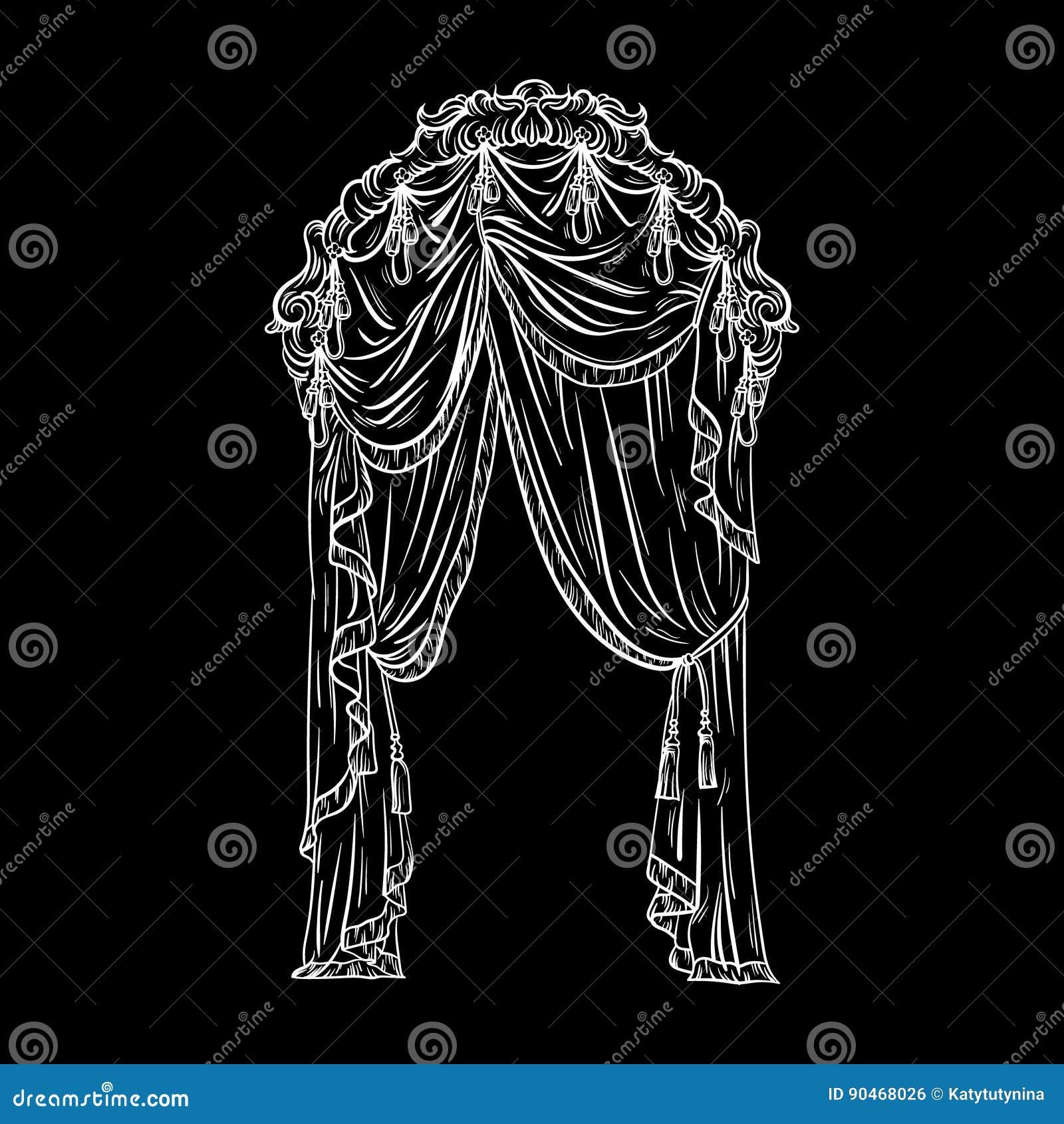 Vector el ejemplo dibujado mano de la cortina de ventana hecho en estilo del bosquejo