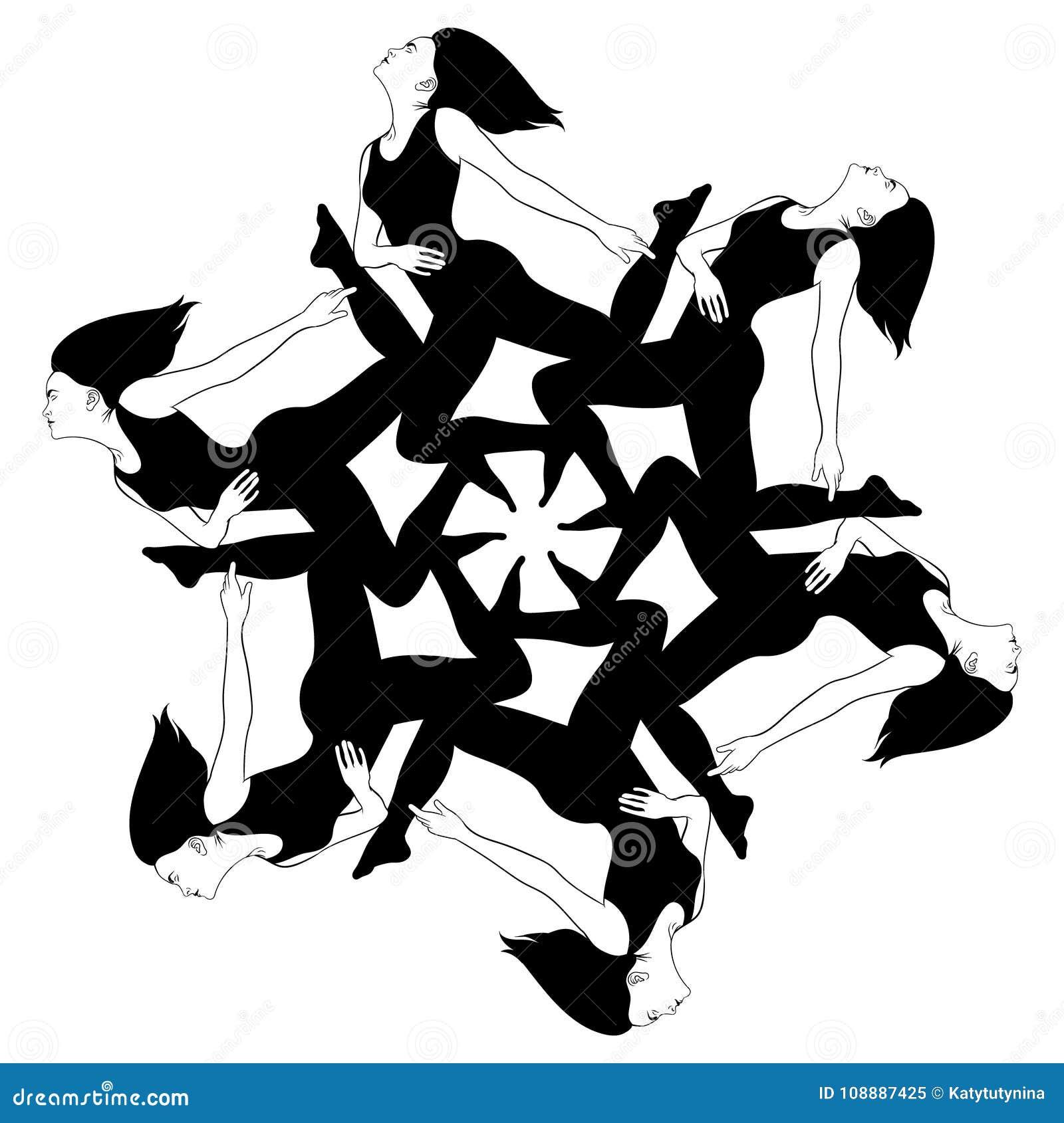 Vector el ejemplo dibujado mano de las muchachas en sus rodillas