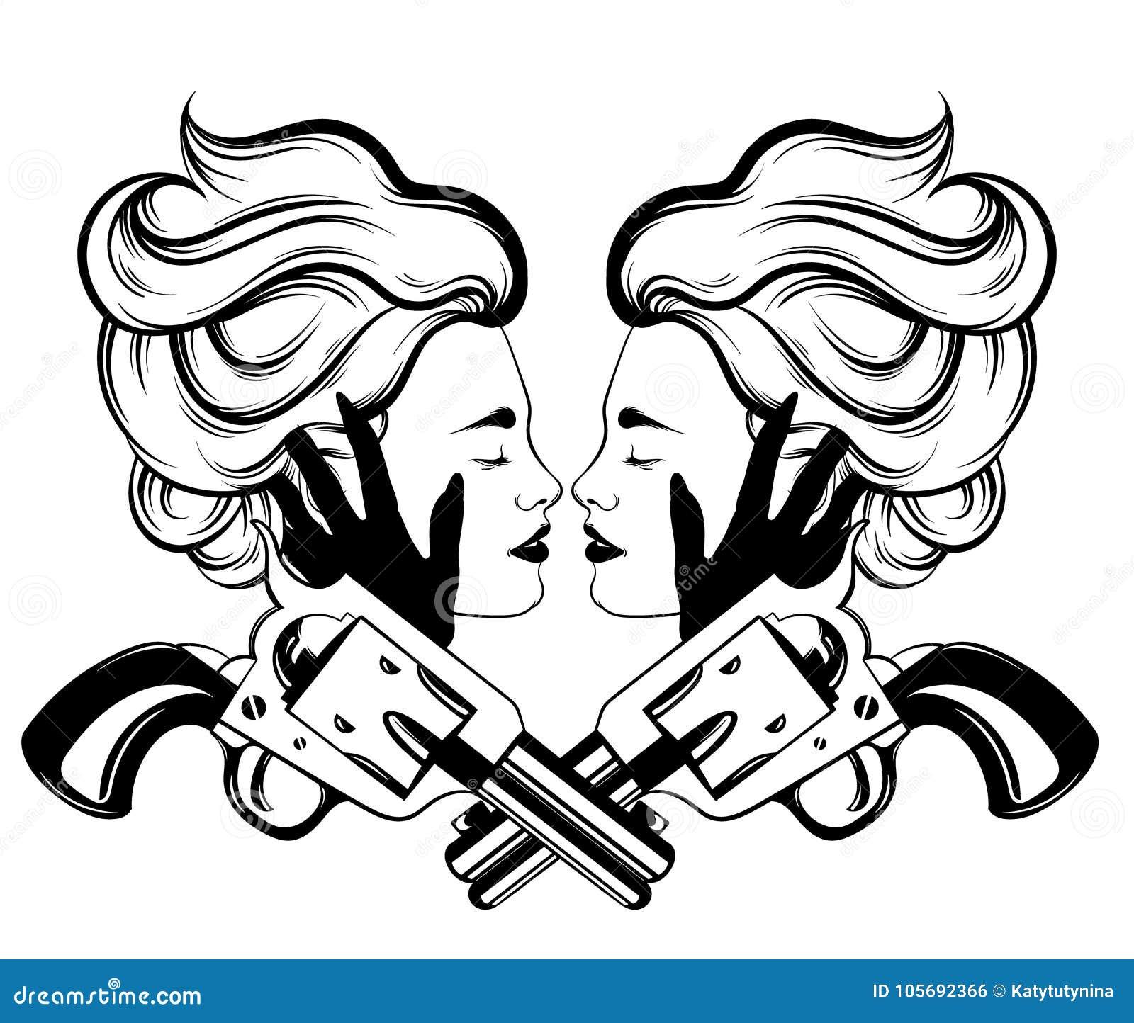Vector el ejemplo dibujado mano de pares de mujeres
